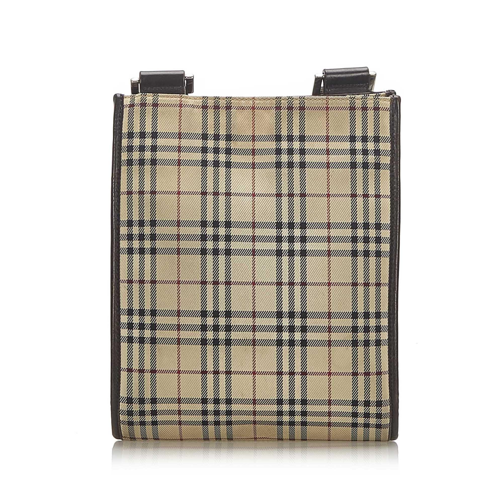 Vintage Burberry House Check Canvas Crossbody Bag Brown