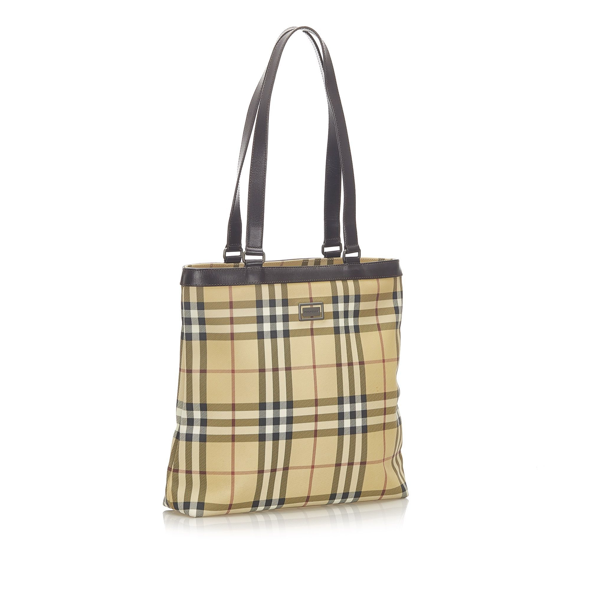 Vintage Burberry House Check Canvas Tote Bag Brown
