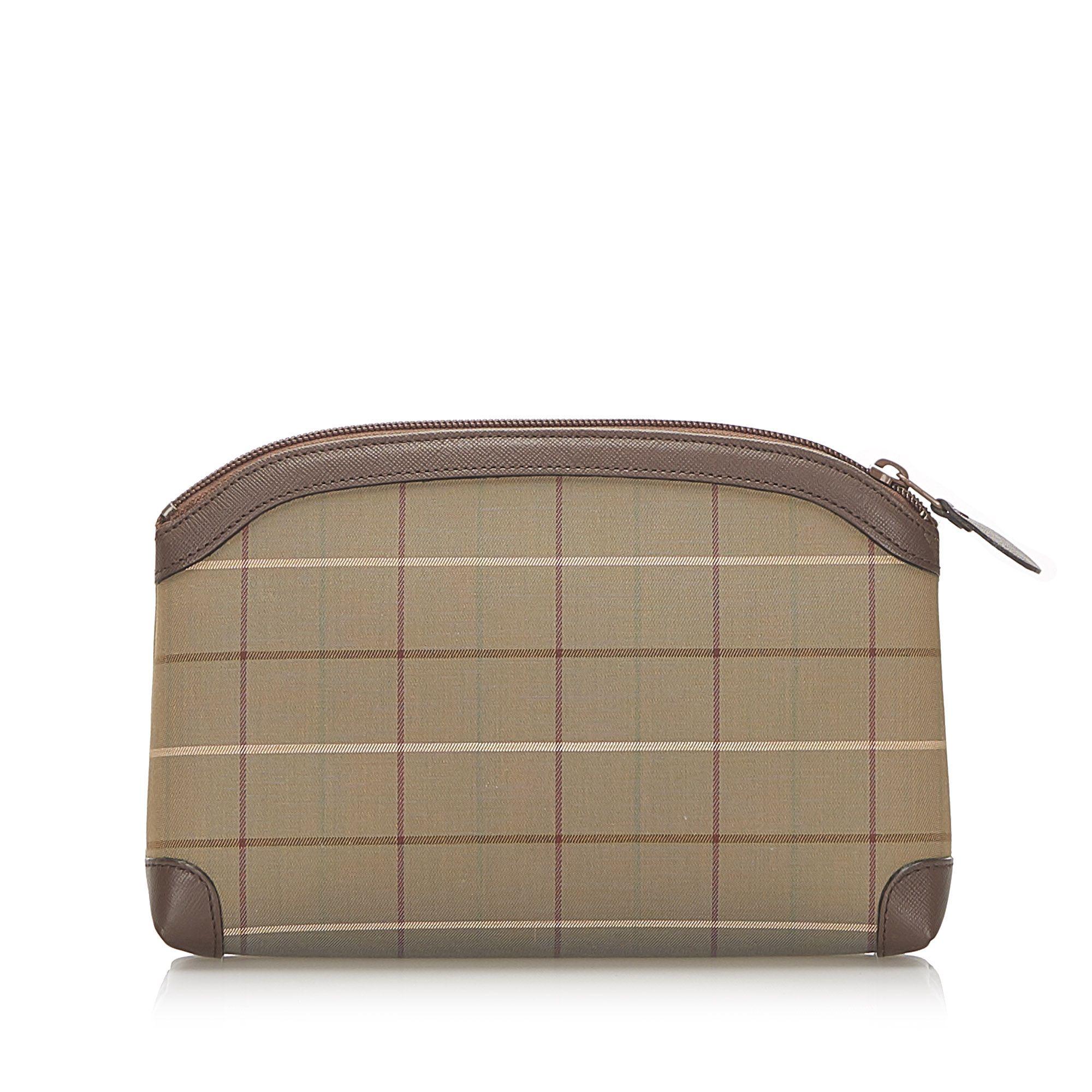 Vintage Burberry Plaid Canvas Pouch Brown