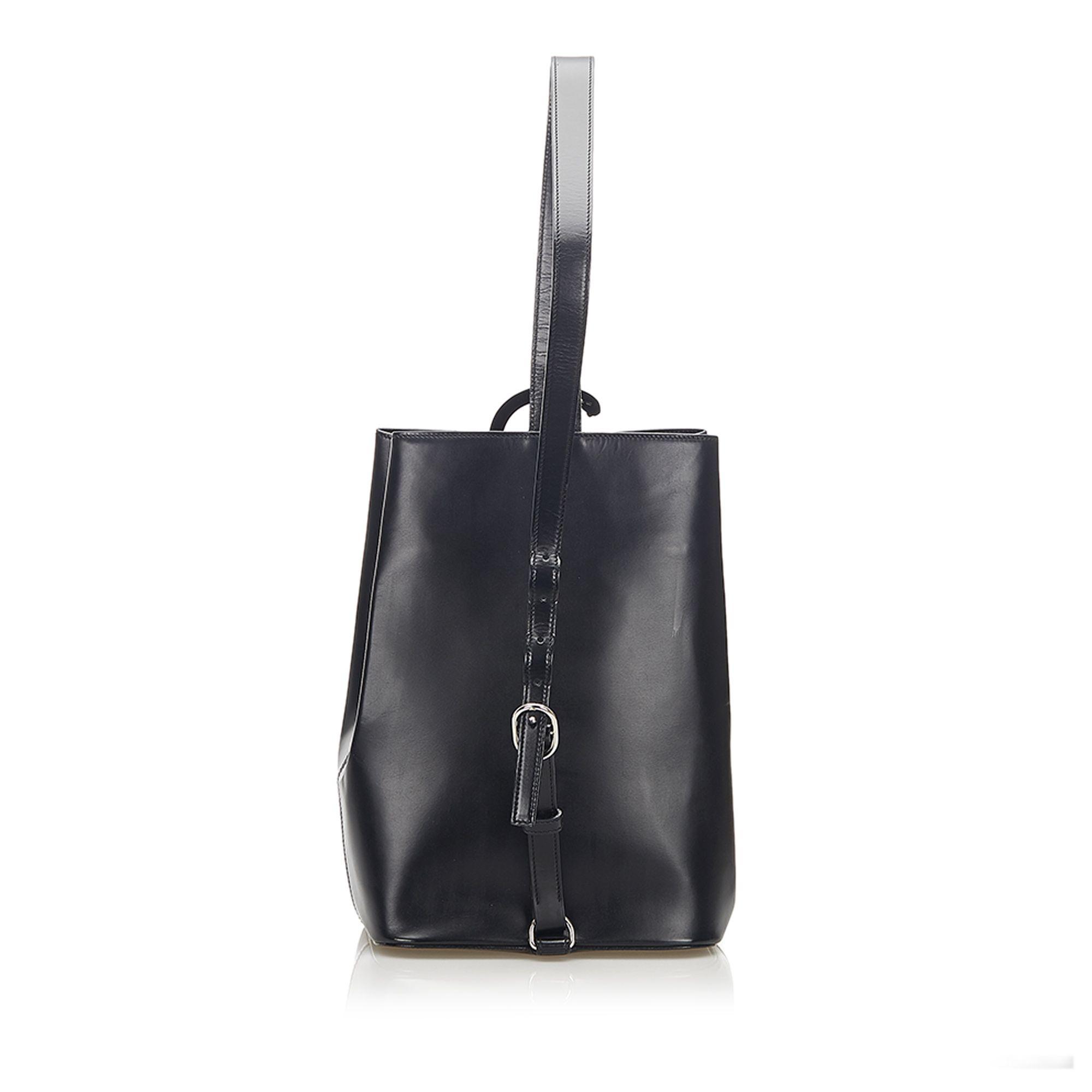 Vintage Cartier Panthere Leather Backpack Black