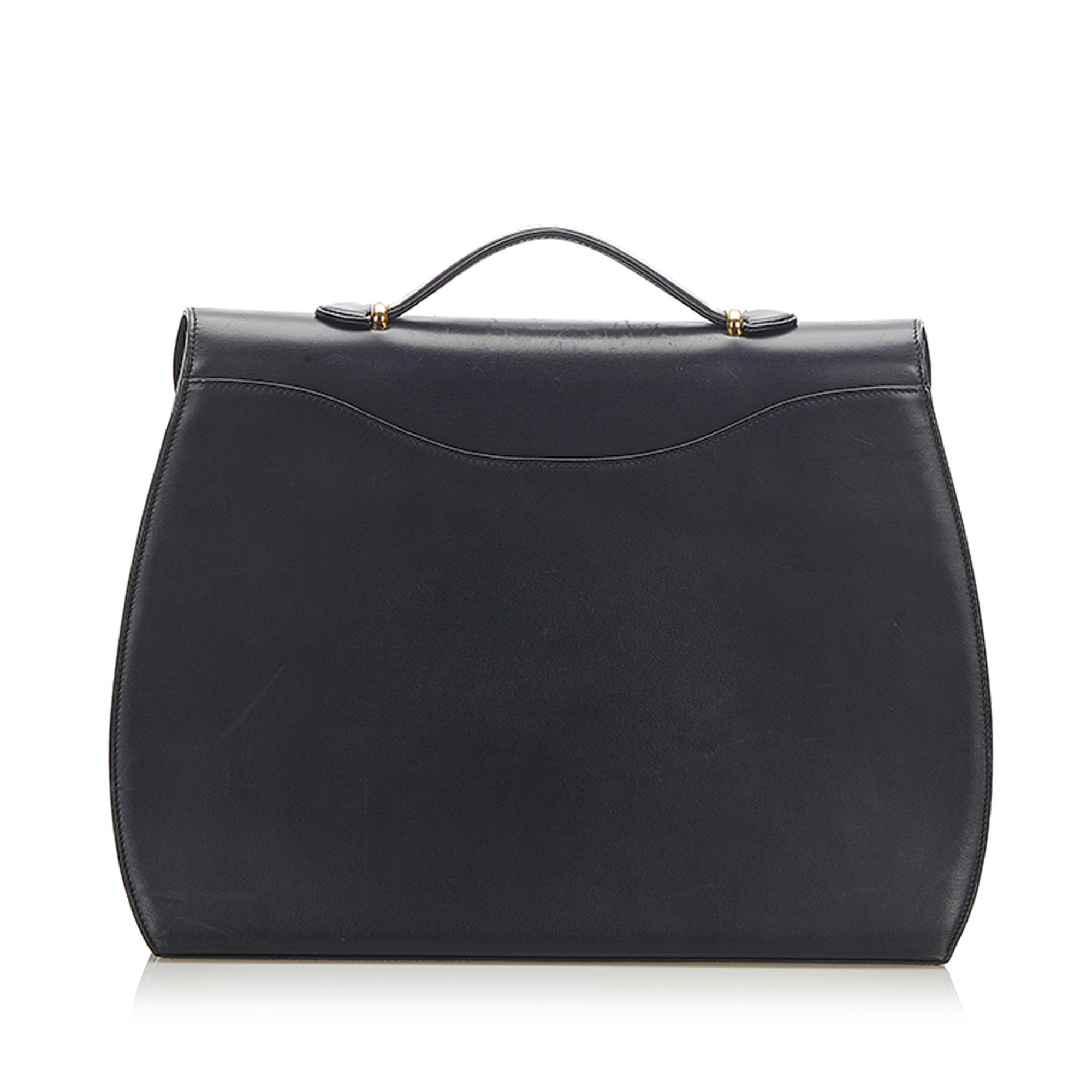 Vintage Cartier Panthere Leather Briefcase Black