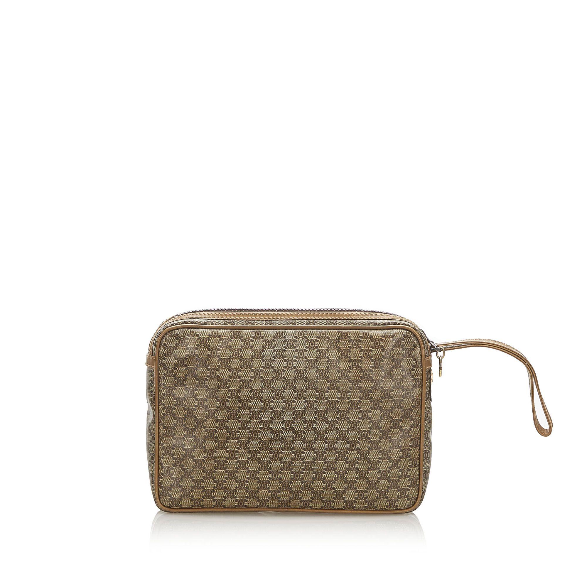 Vintage Celine Macadam Clutch Bag Brown