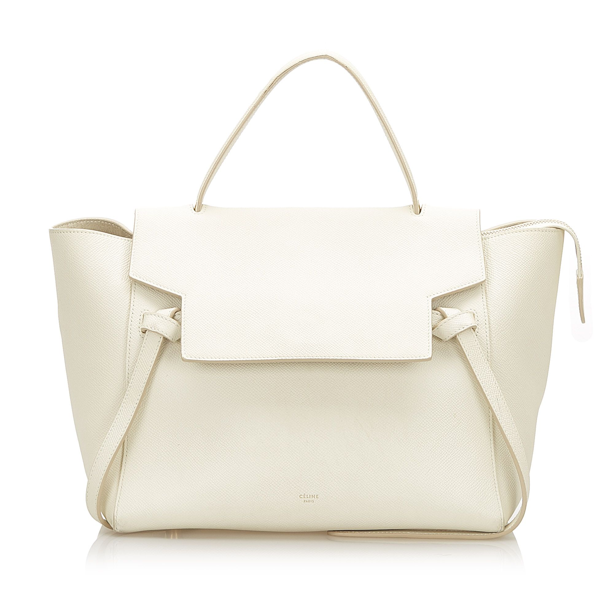 Vintage Celine Belt Leather Handbag White