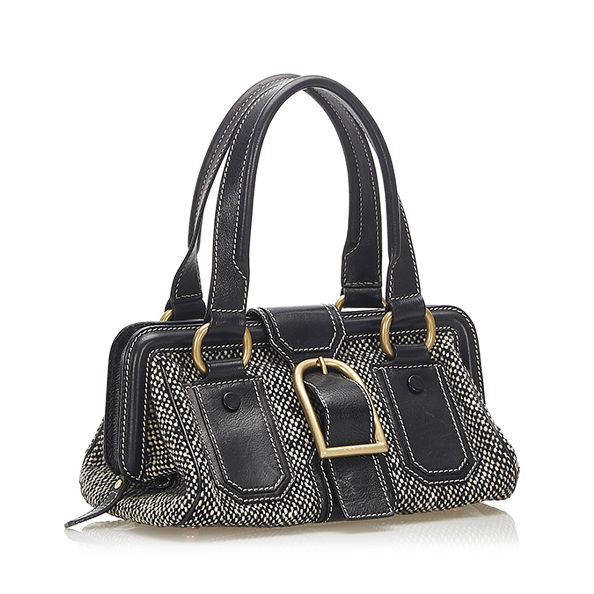 Vintage Celine Ella Frame Tweed Handbag Black