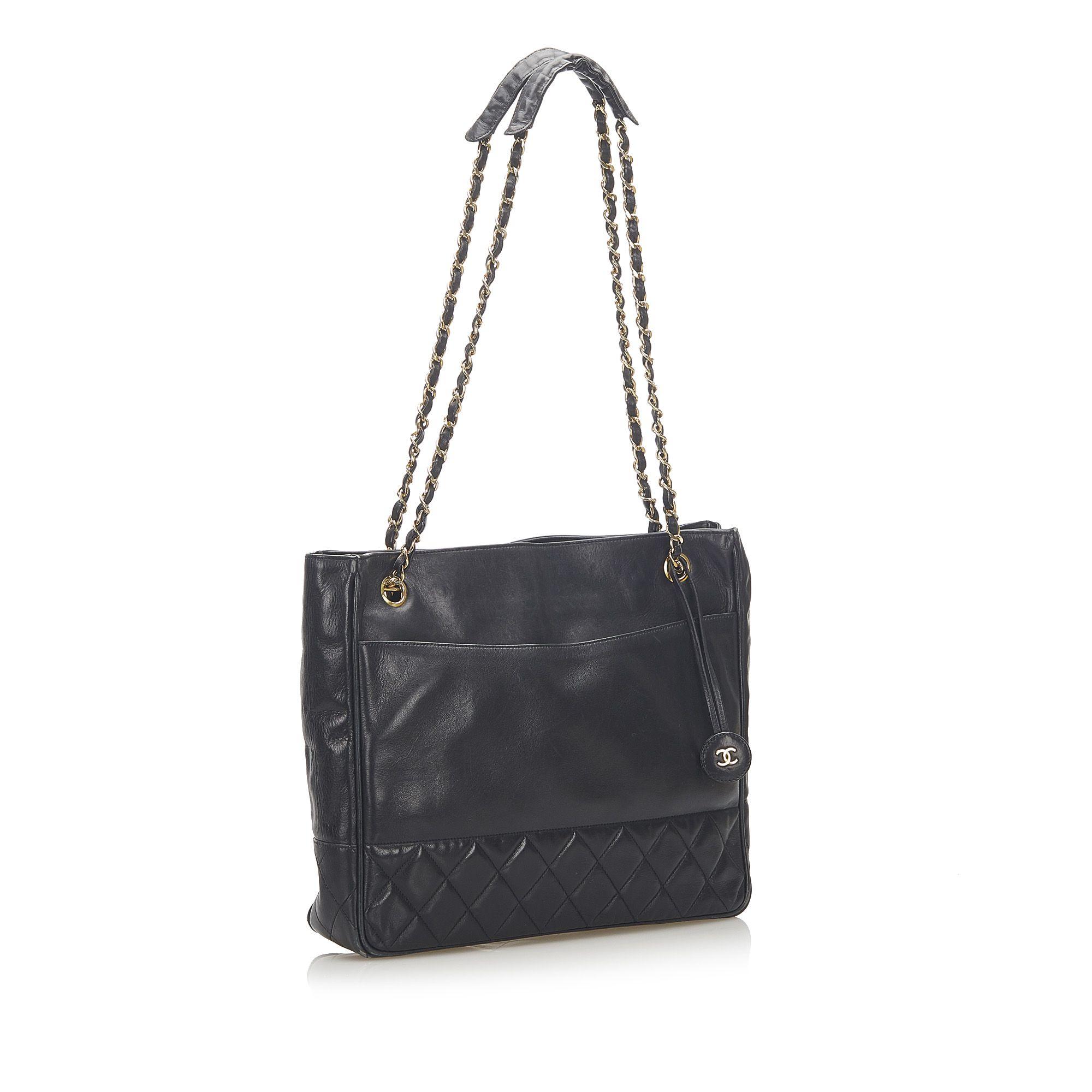 Vintage Chanel Matelasse Lambskin Leather Shoulder Bag Black