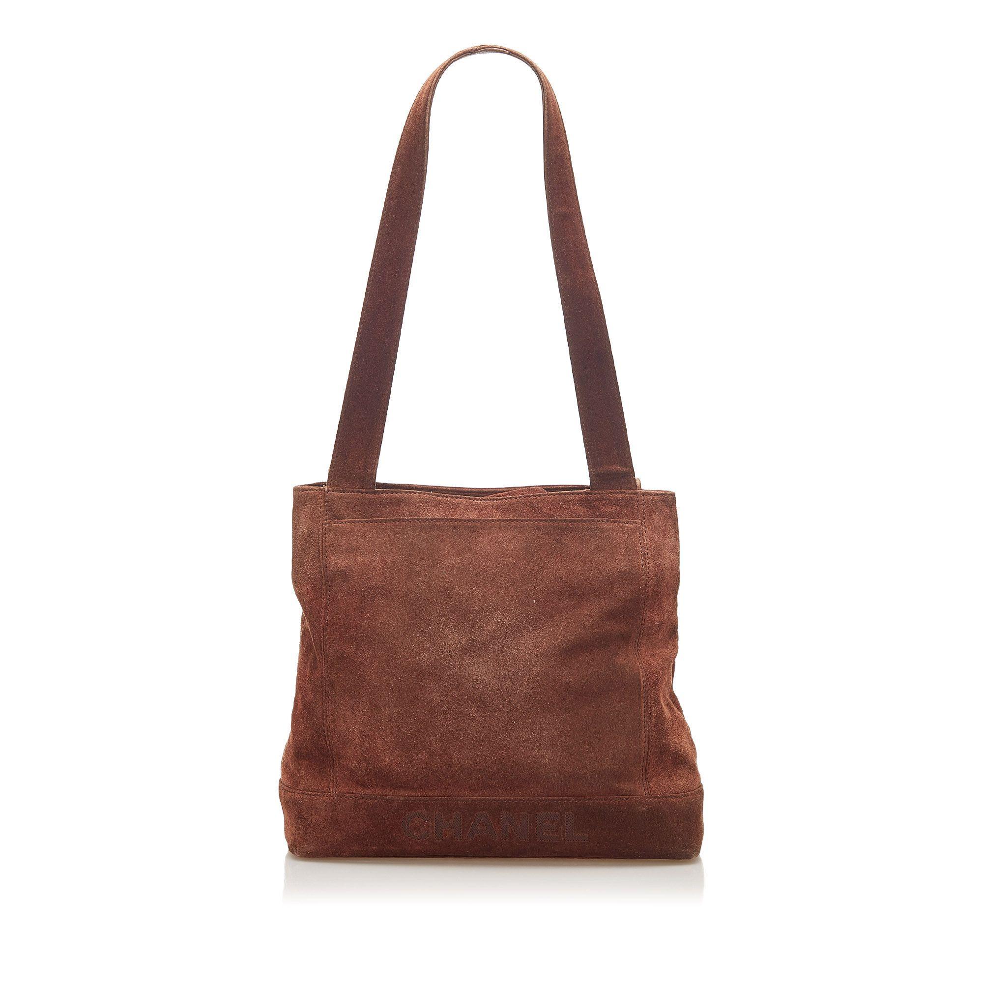 Vintage Chanel Suede Tote Bag Brown