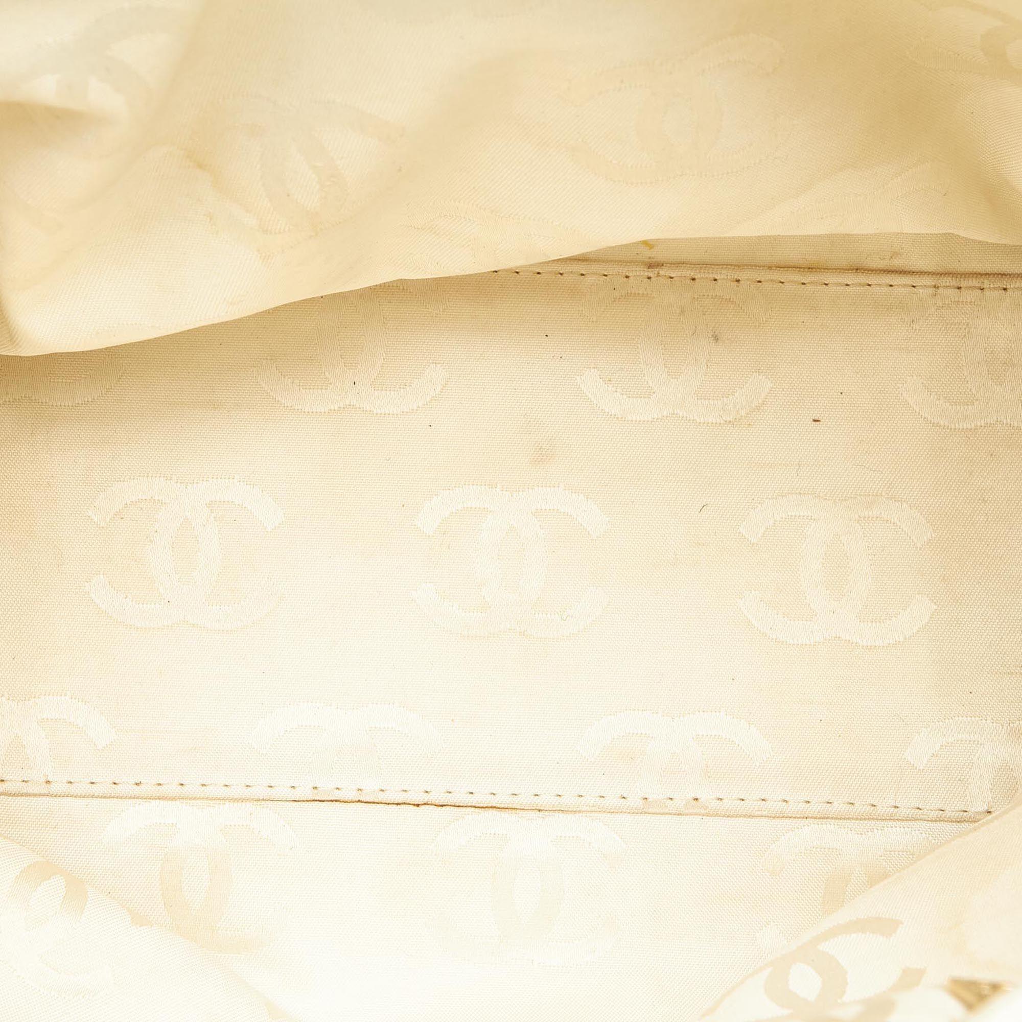 Vintage Chanel CC Caviar Leather Tote Bag White