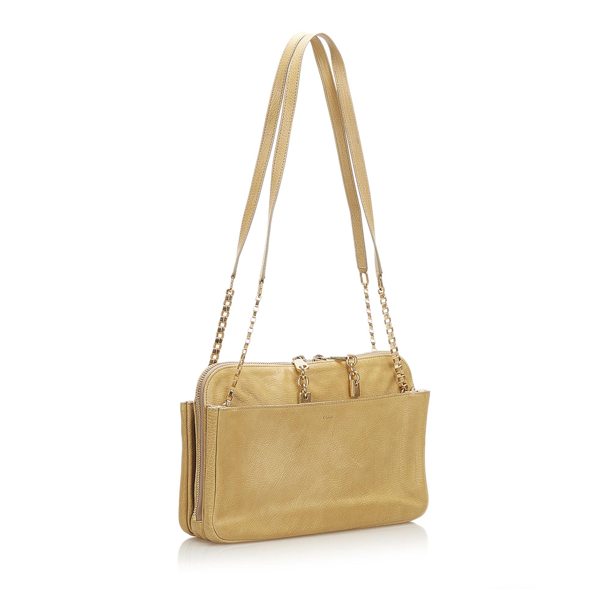 Vintage Chloe Lucy Leather Shoulder Bag Brown