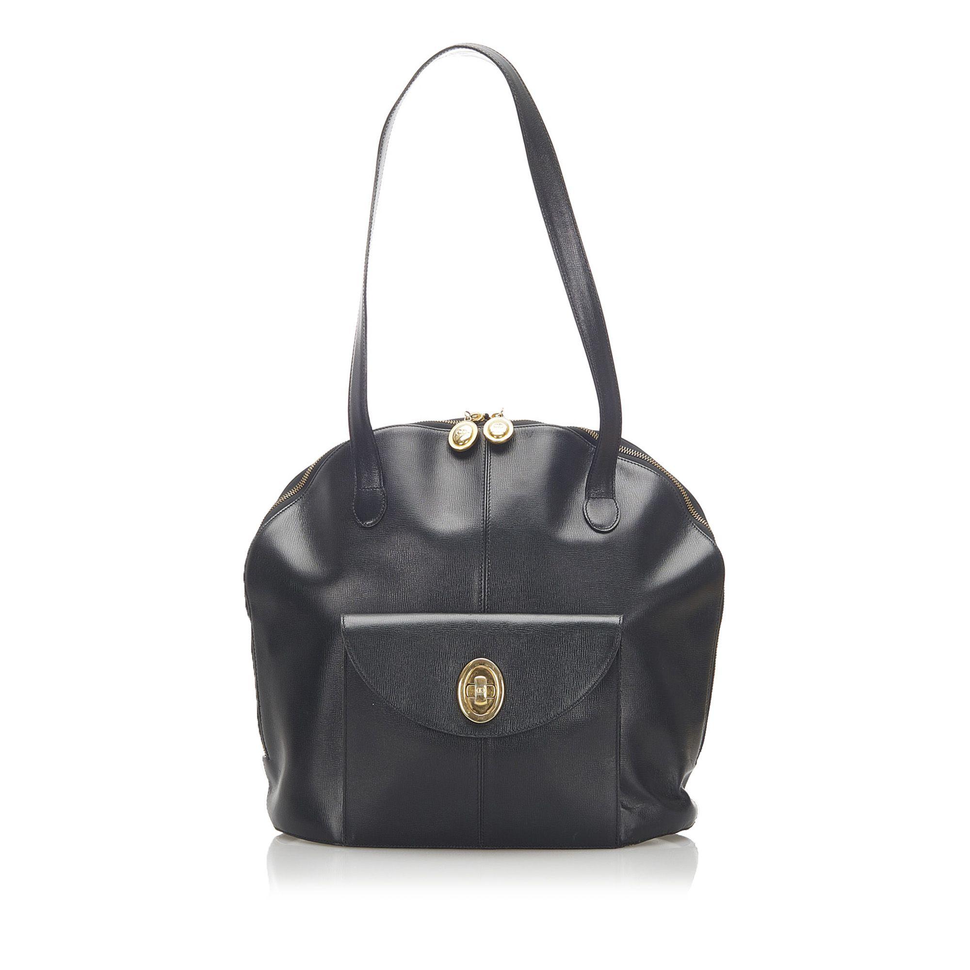 Vintage Dior Leather Tote Bag Black