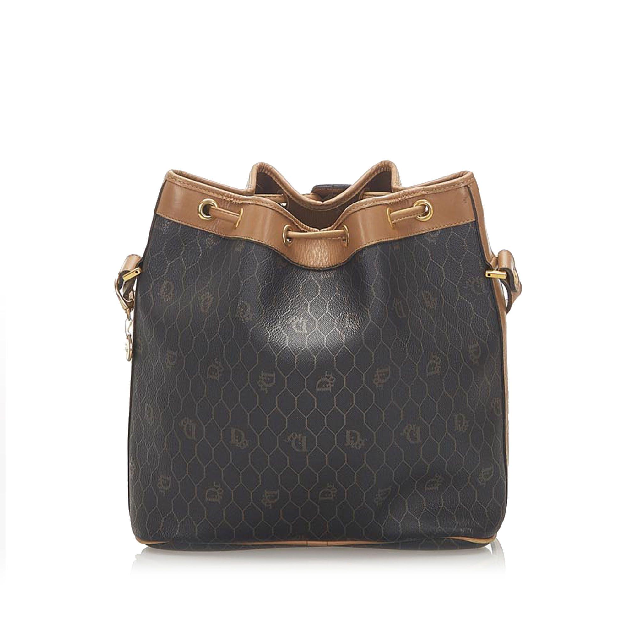 Vintage Dior Honeycomb Coated Canvas Bucket Bag Black