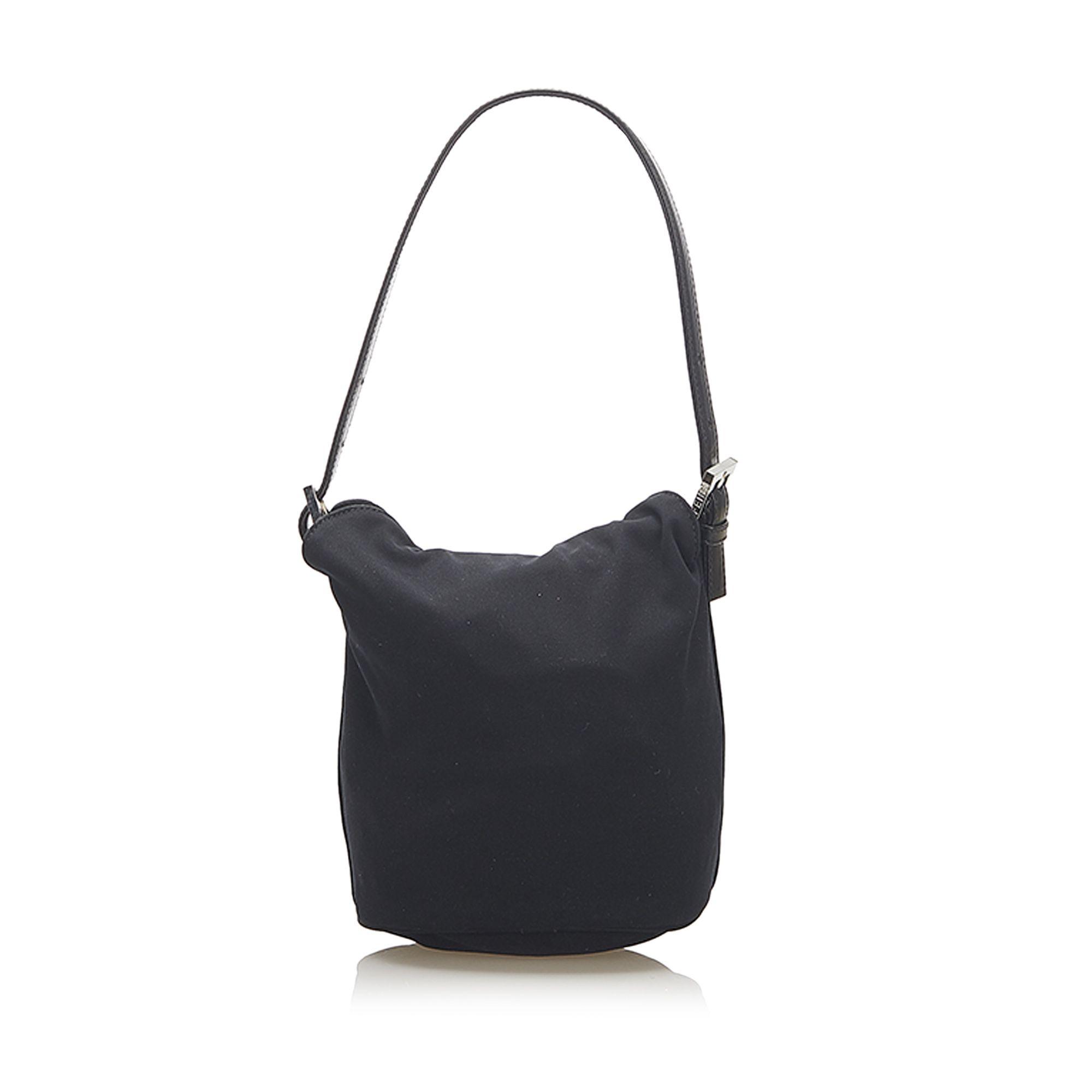 Vintage Fendi Cotton Bucket Bag Black
