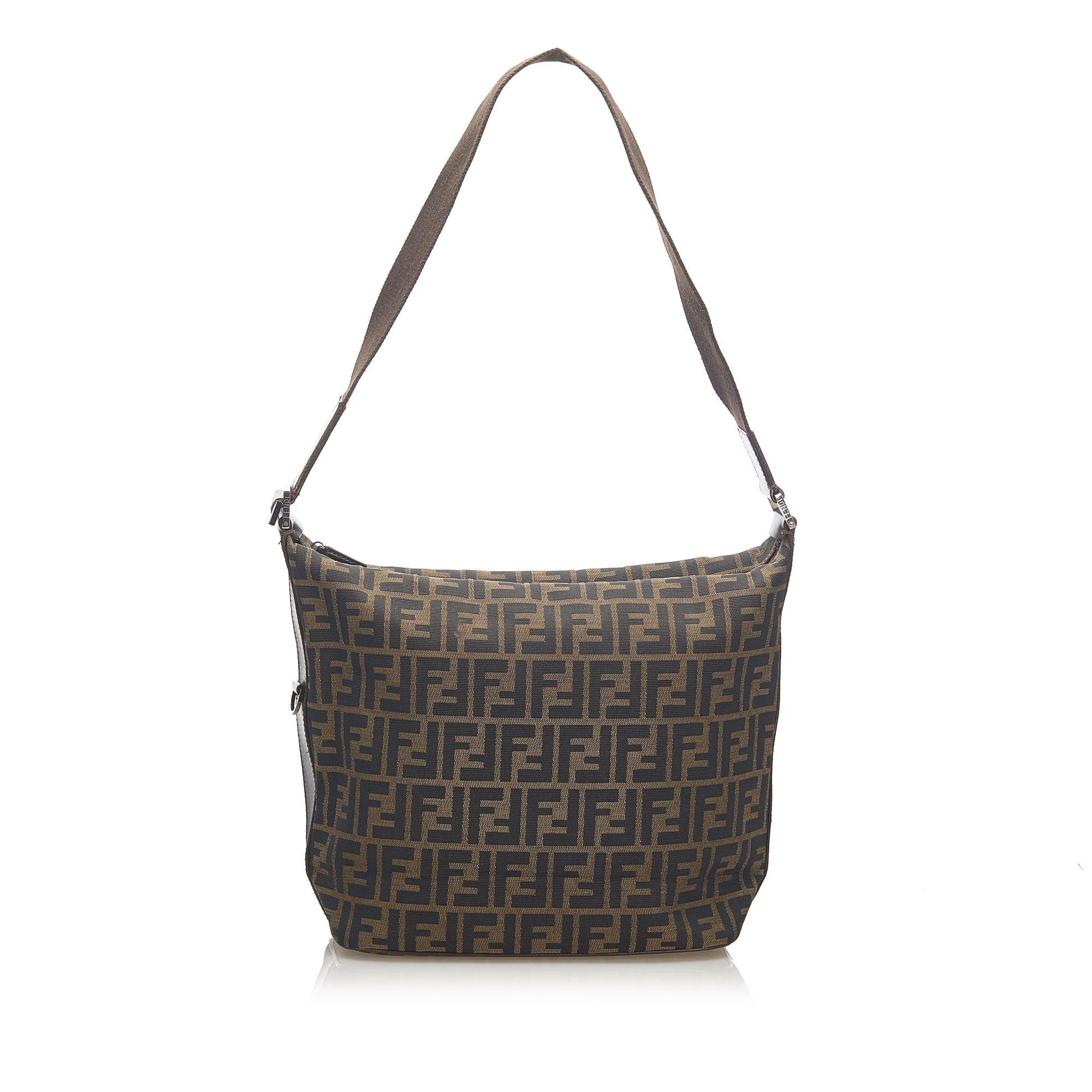 Vintage Fendi Zucca Nylon Shoulder Bag Brown