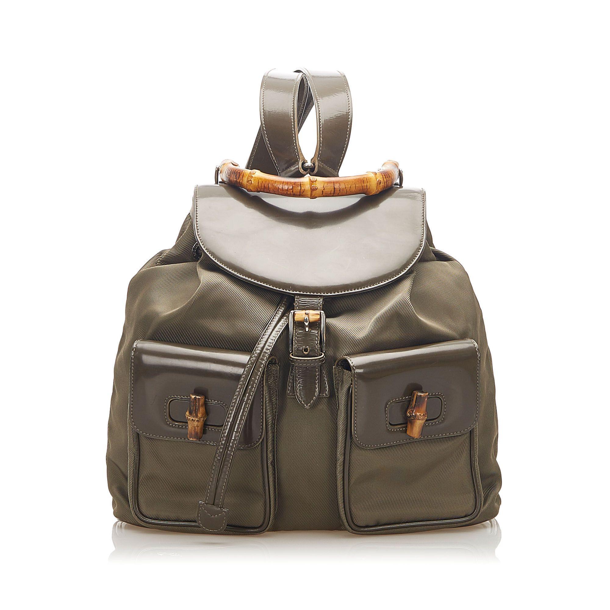 Vintage Gucci Bamboo Drawstring Nylon Backpack Brown