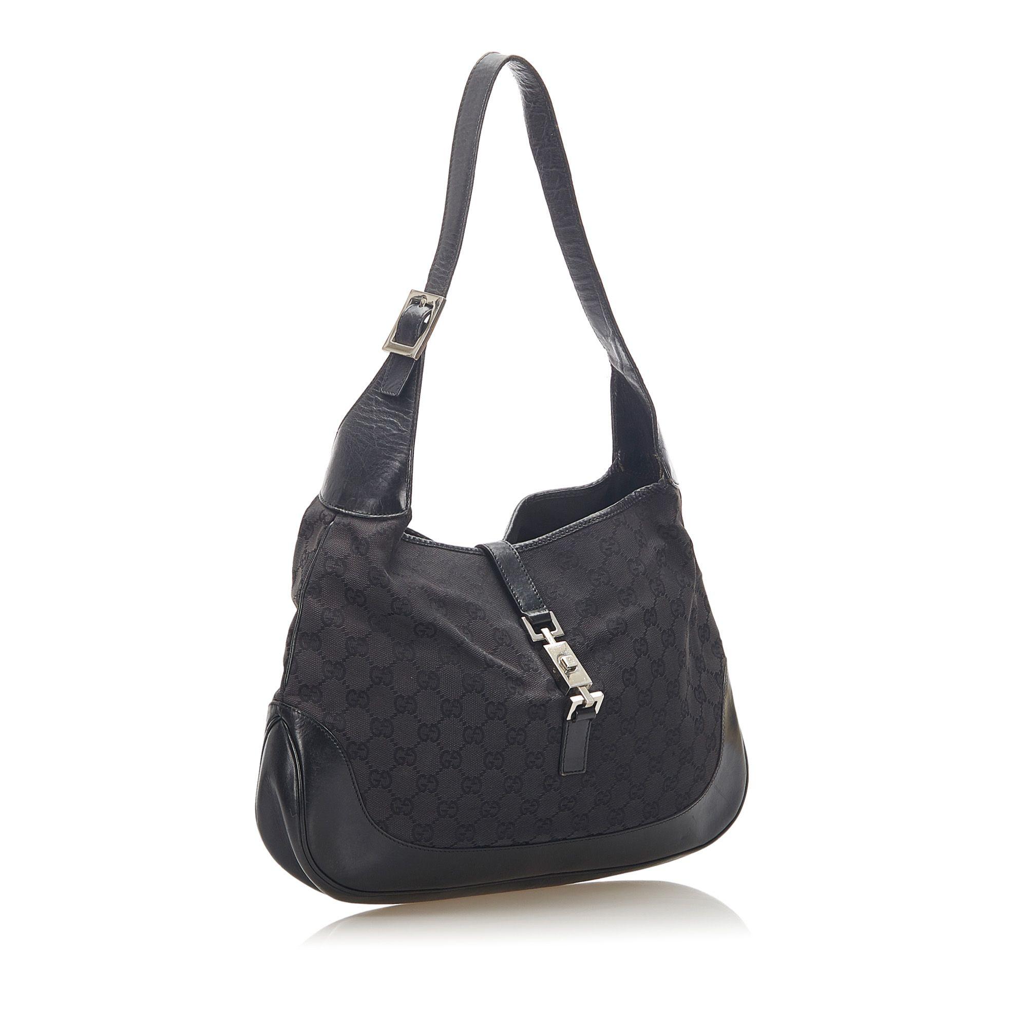 Vintage Gucci GG Canvas Jackie Shoulder Bag Black