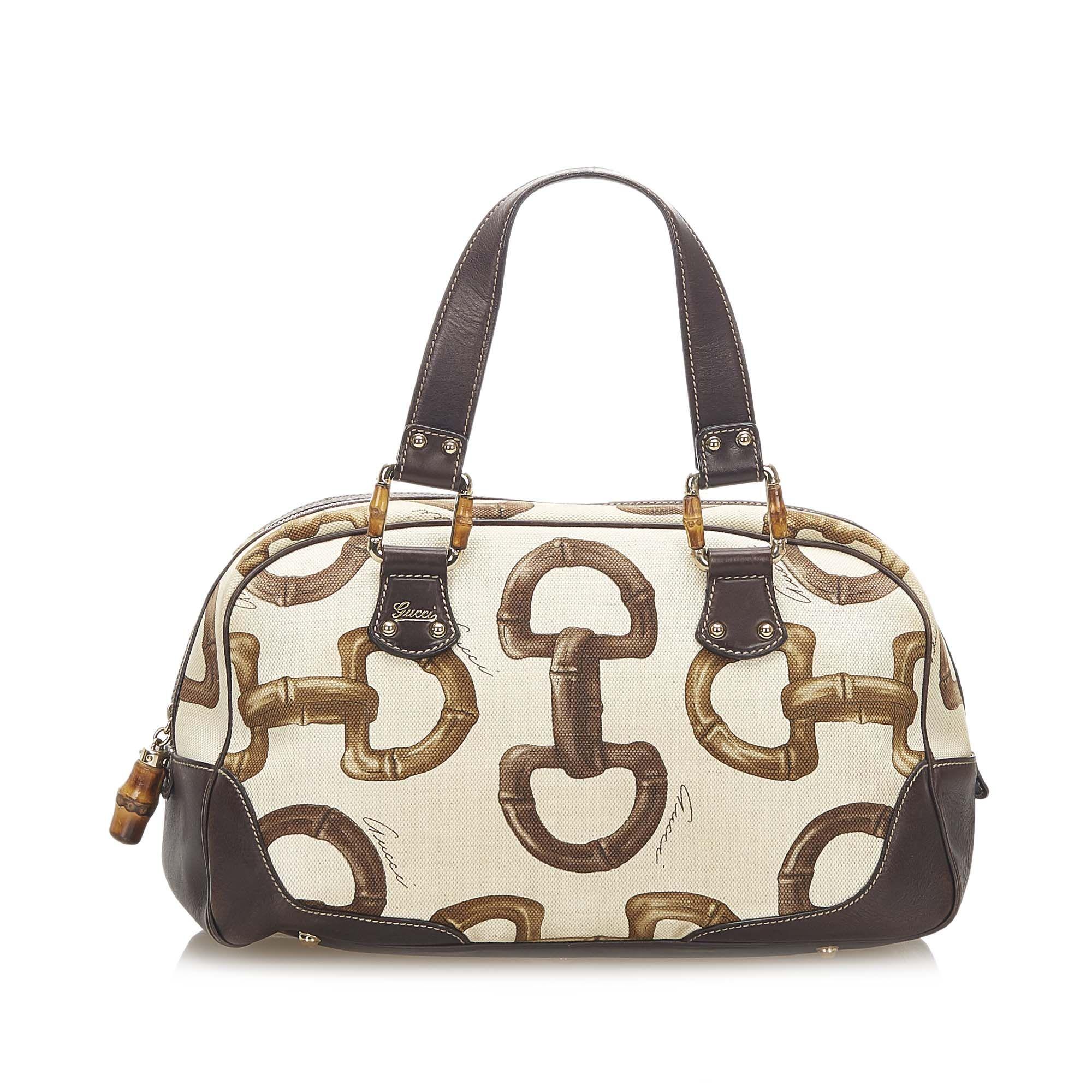 Vintage Gucci Bamboo Horsebit Canvas Handbag White