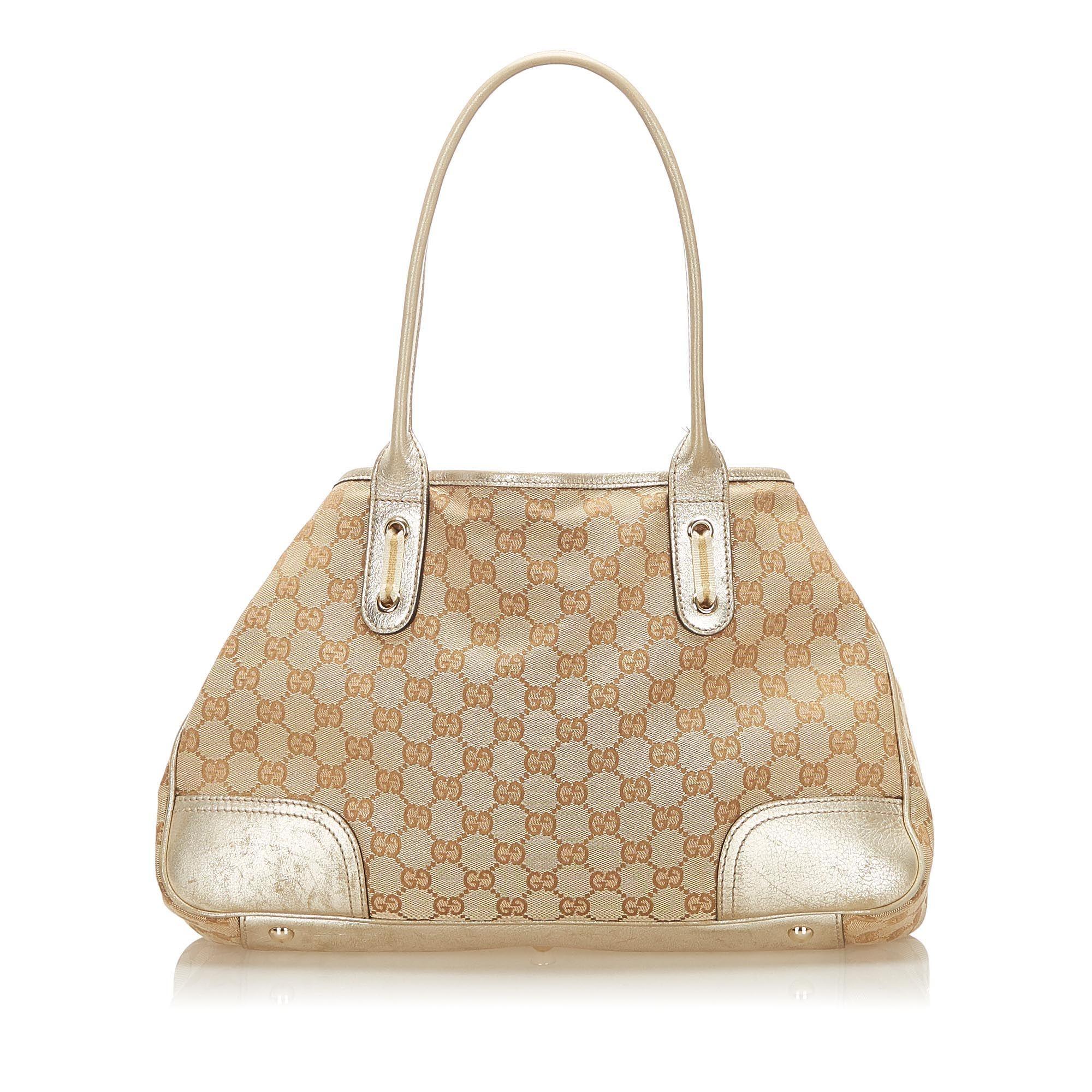 Vintage Gucci GG Canvas Princy Tote Bag Brown