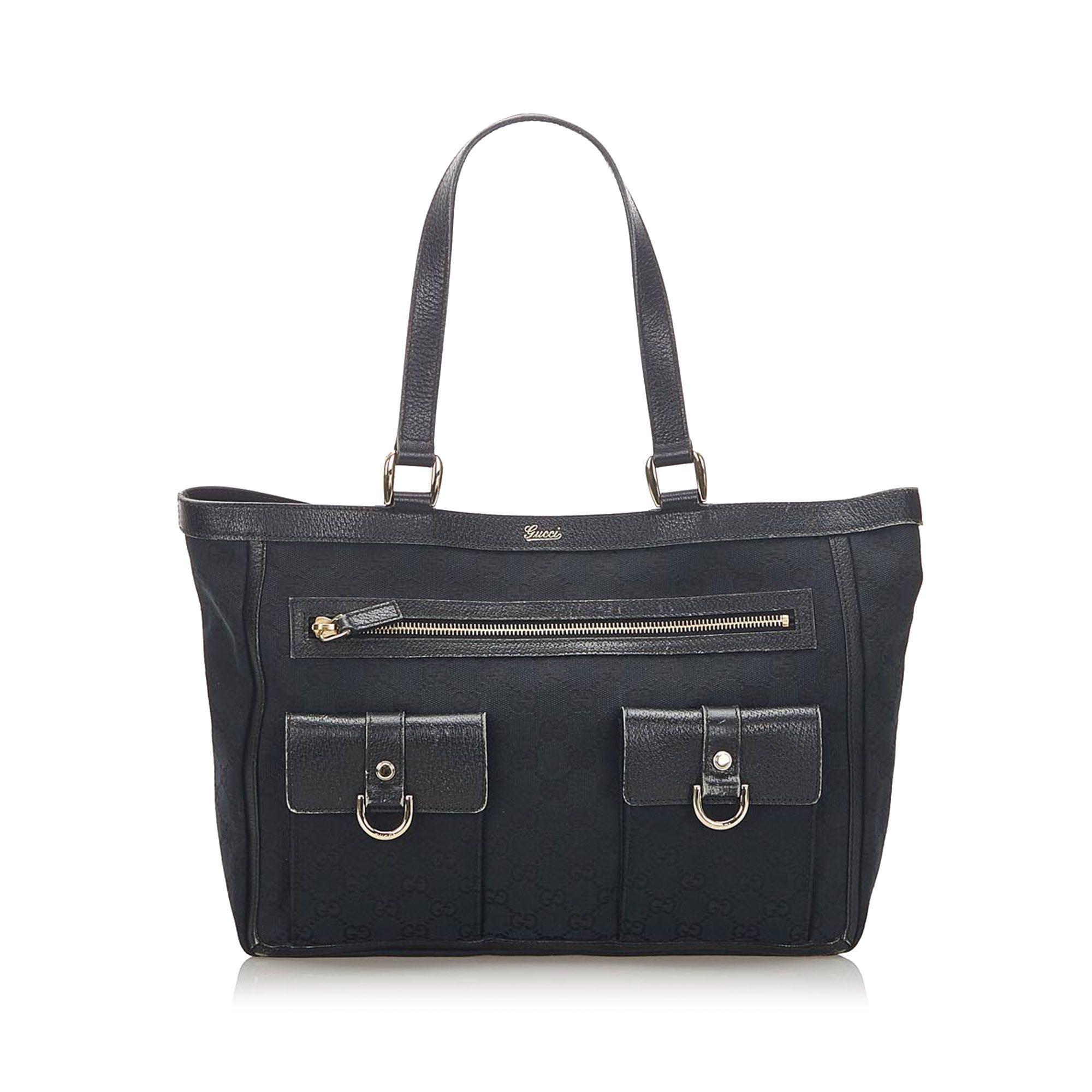 Vintage Gucci GG Canvas Abbey D Ring Shoulder Bag Black