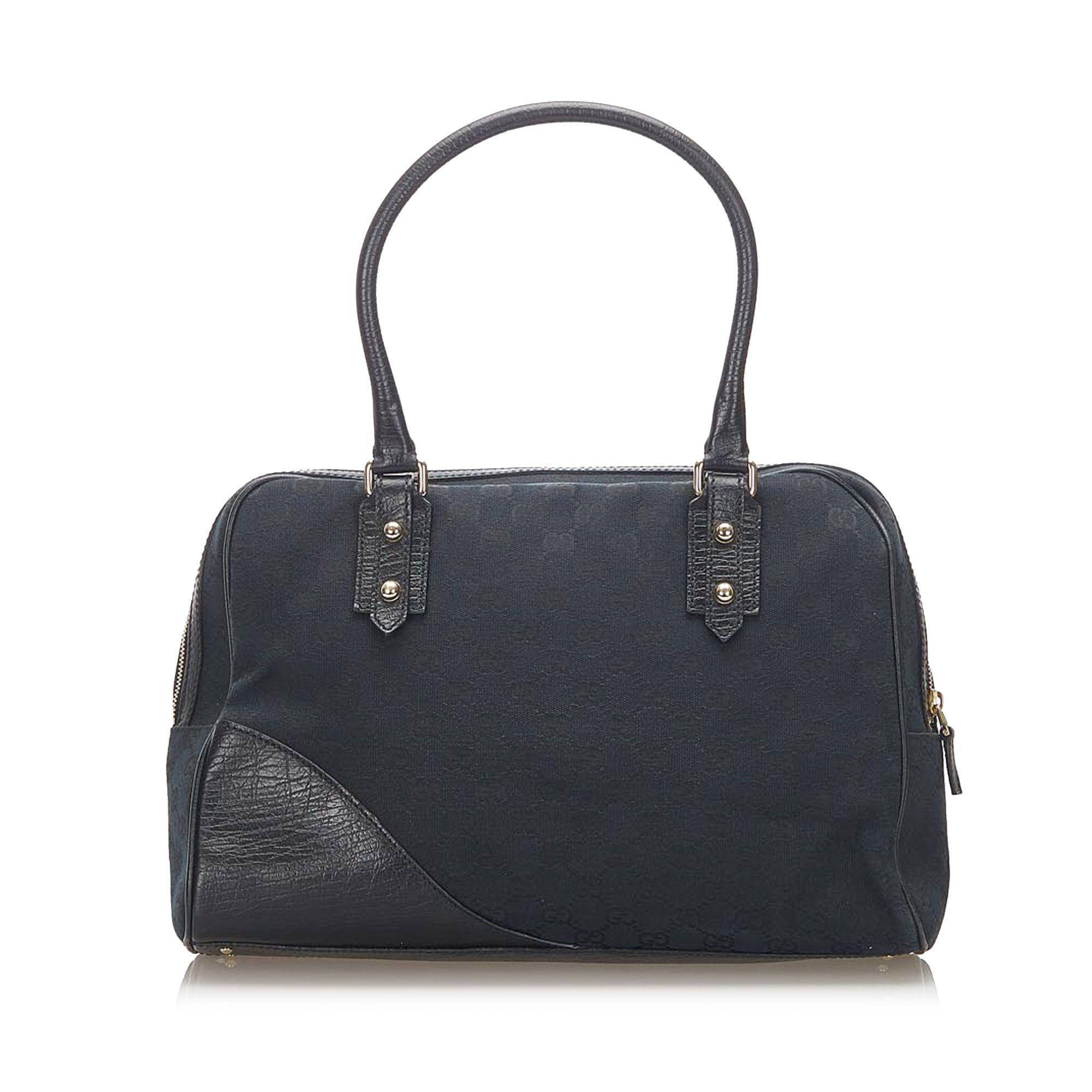 Vintage Gucci GG Canvas Hasler Handbag Black