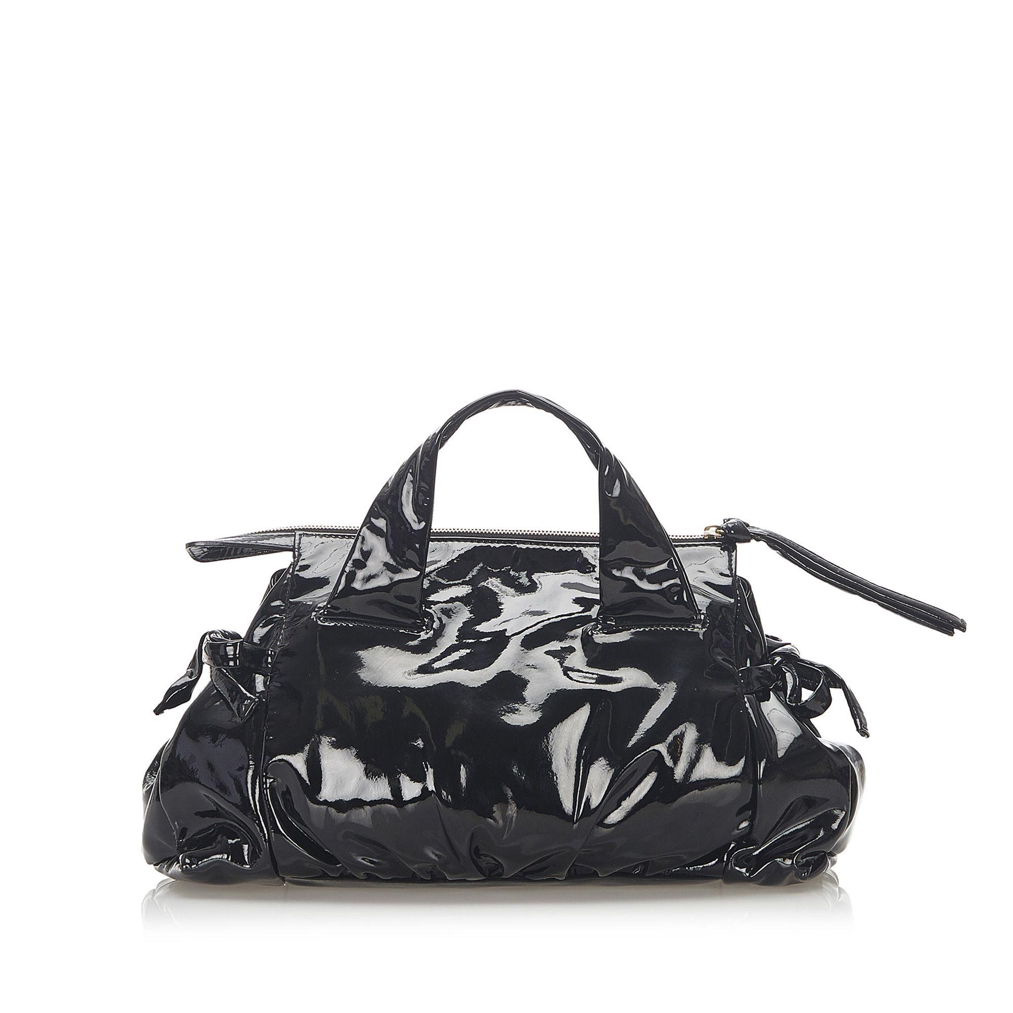 Vintage Gucci Hysteria Patent Leather Handbag Black