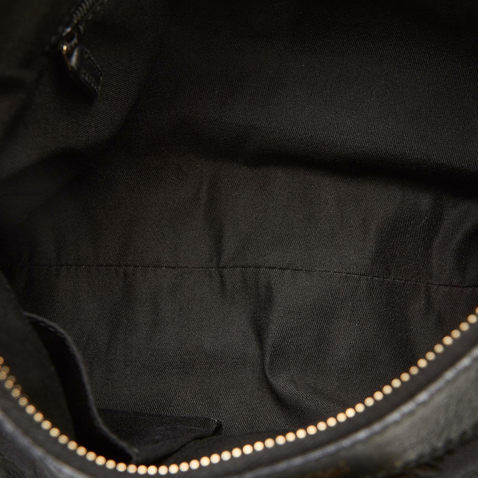 Vintage Gucci GG Canvas Abbey D-Ring Shoulder Bag Black