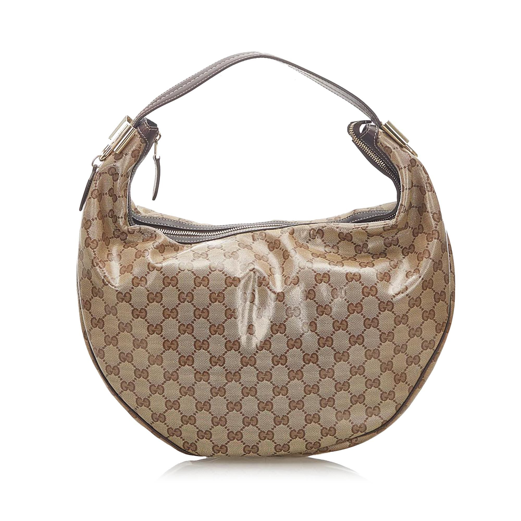 Vintage Gucci GG Crystal Duchessa Hobo Bag Brown
