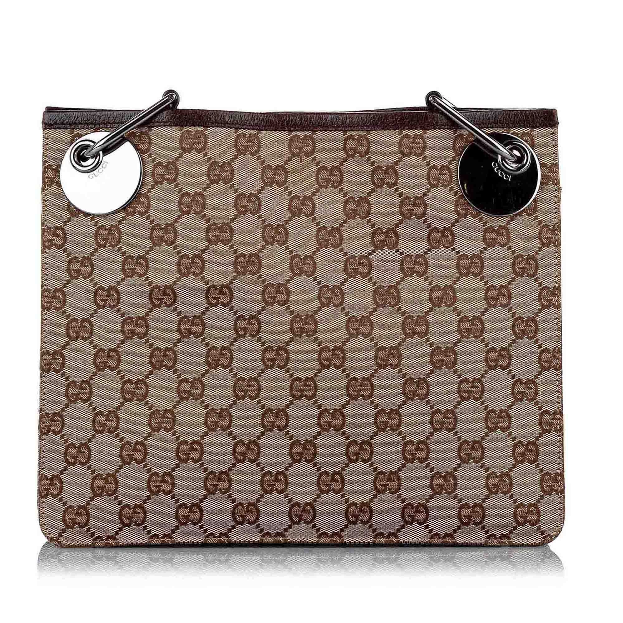Vintage Gucci GG Canvas Eclipse Crossbody Bag Brown