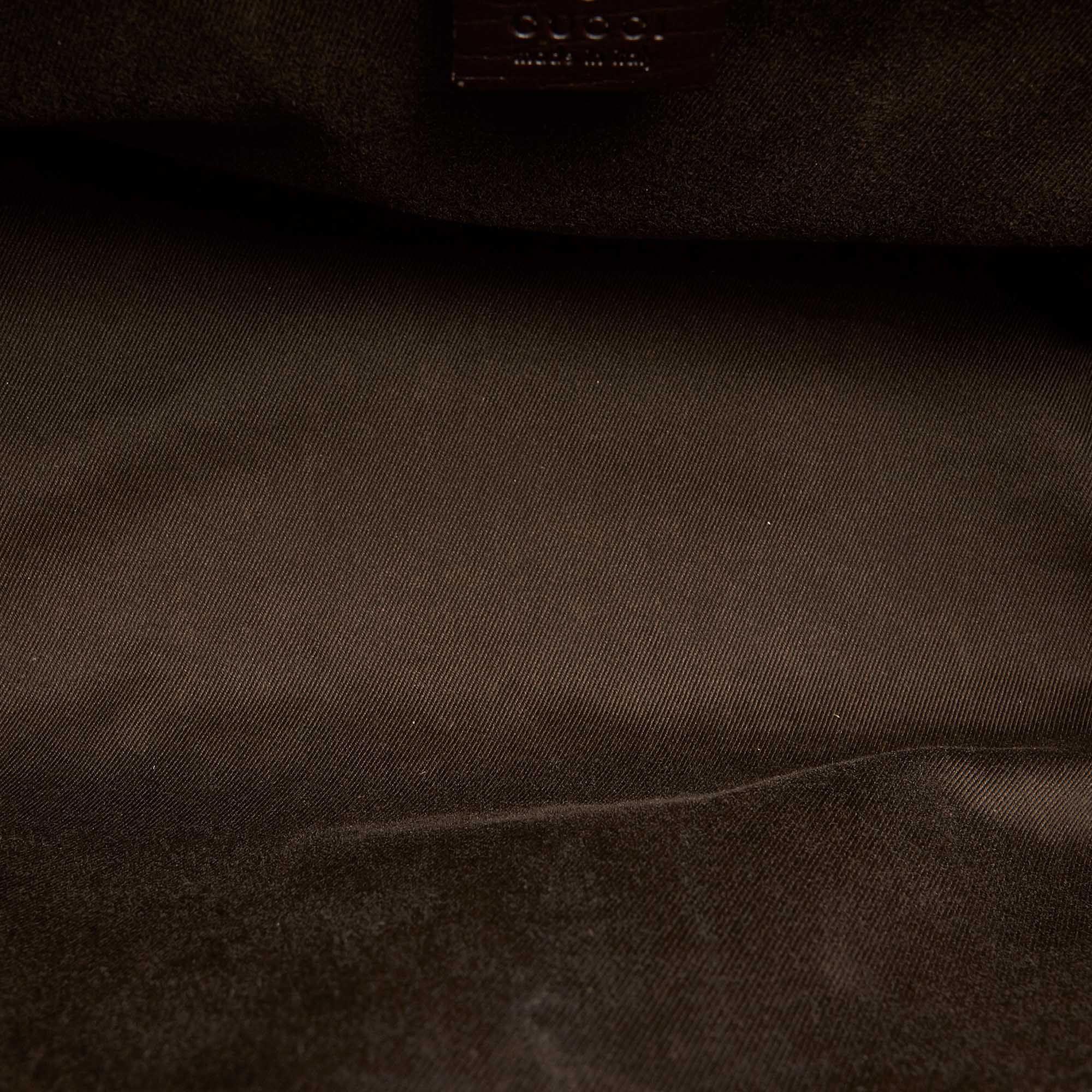 Vintage Gucci GG Canvas Bamboo Bullet Shoulder Bag Brown