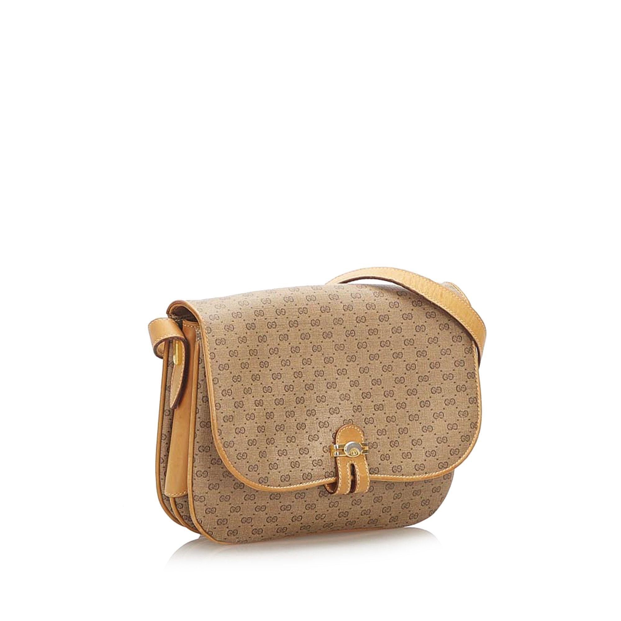 Vintage Gucci Micro GG Canvas Crossbody Bag Brown