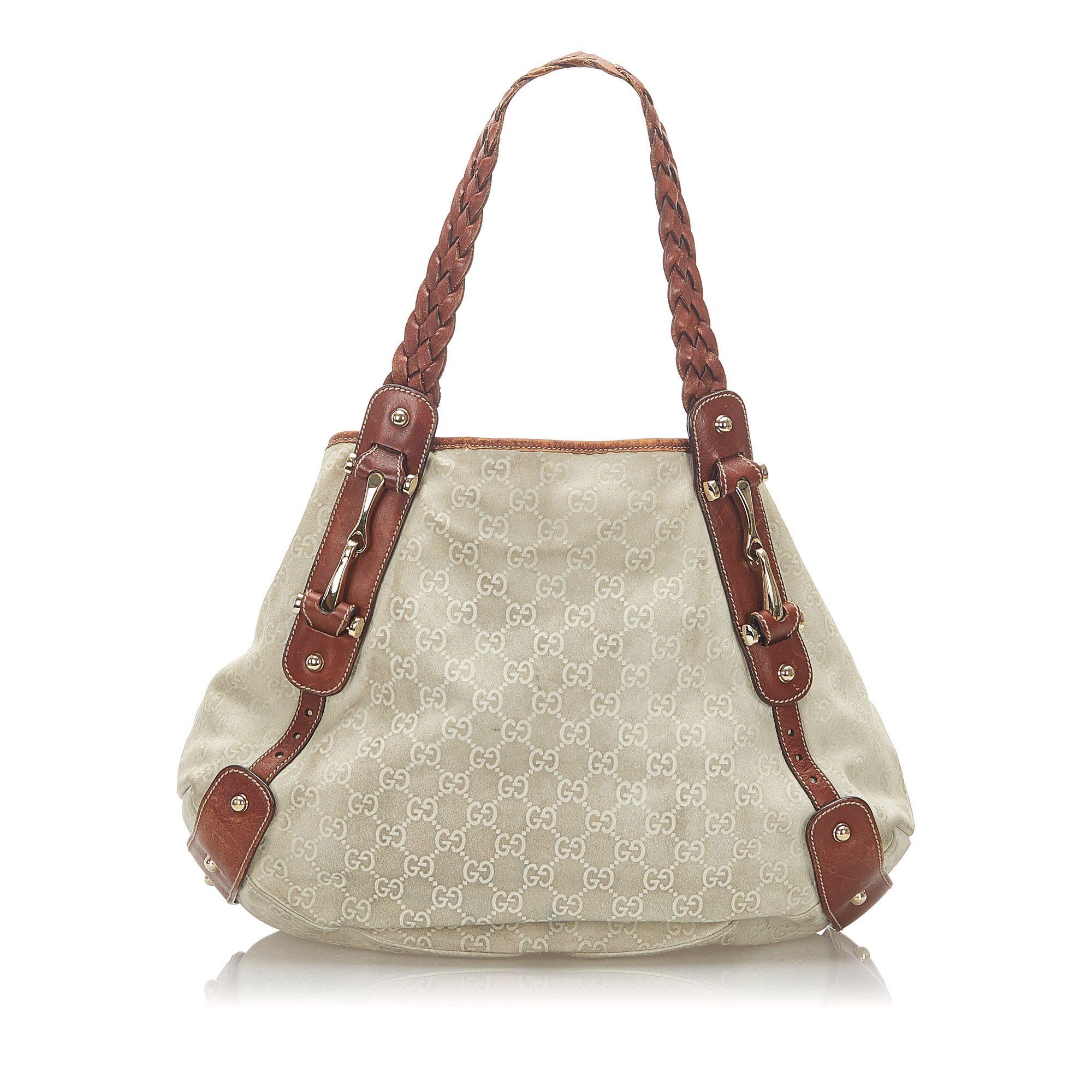 Vintage Gucci GG Canvas Pelham Shoulder Bag Brown