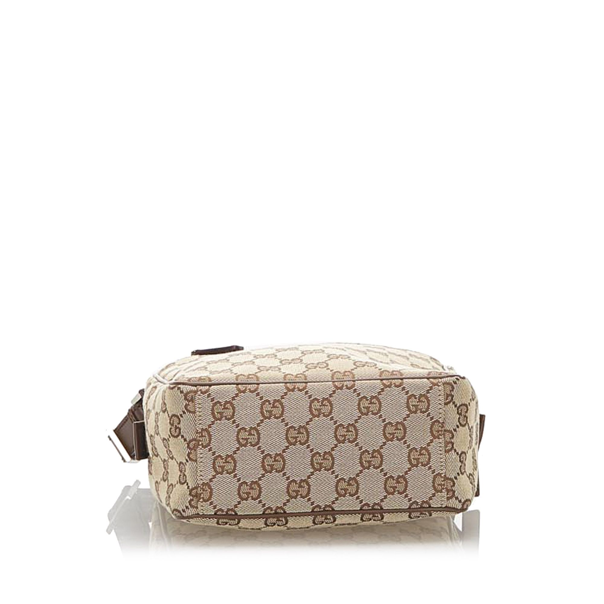 Vintage Gucci GG Canvas Crossbody Bag Brown