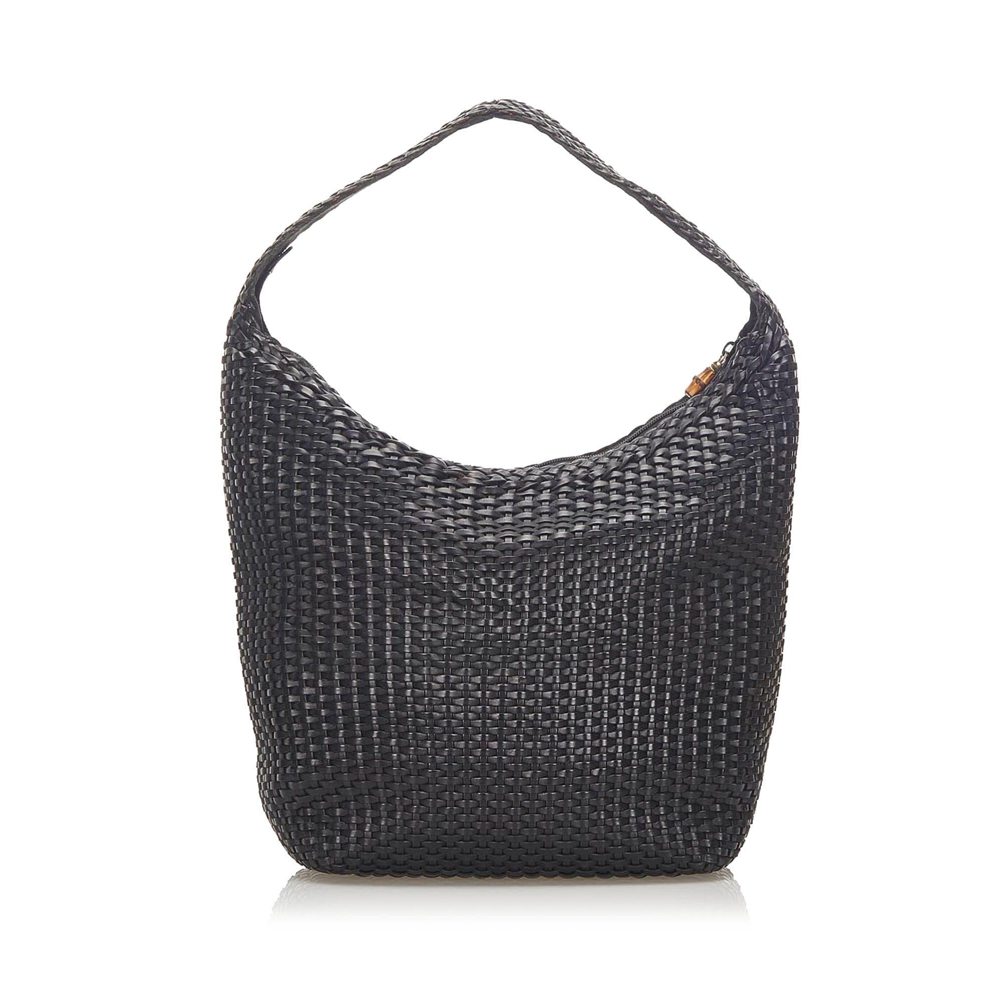 Vintage Gucci Bamboo Basketweave Leather Shoulder Bag Black