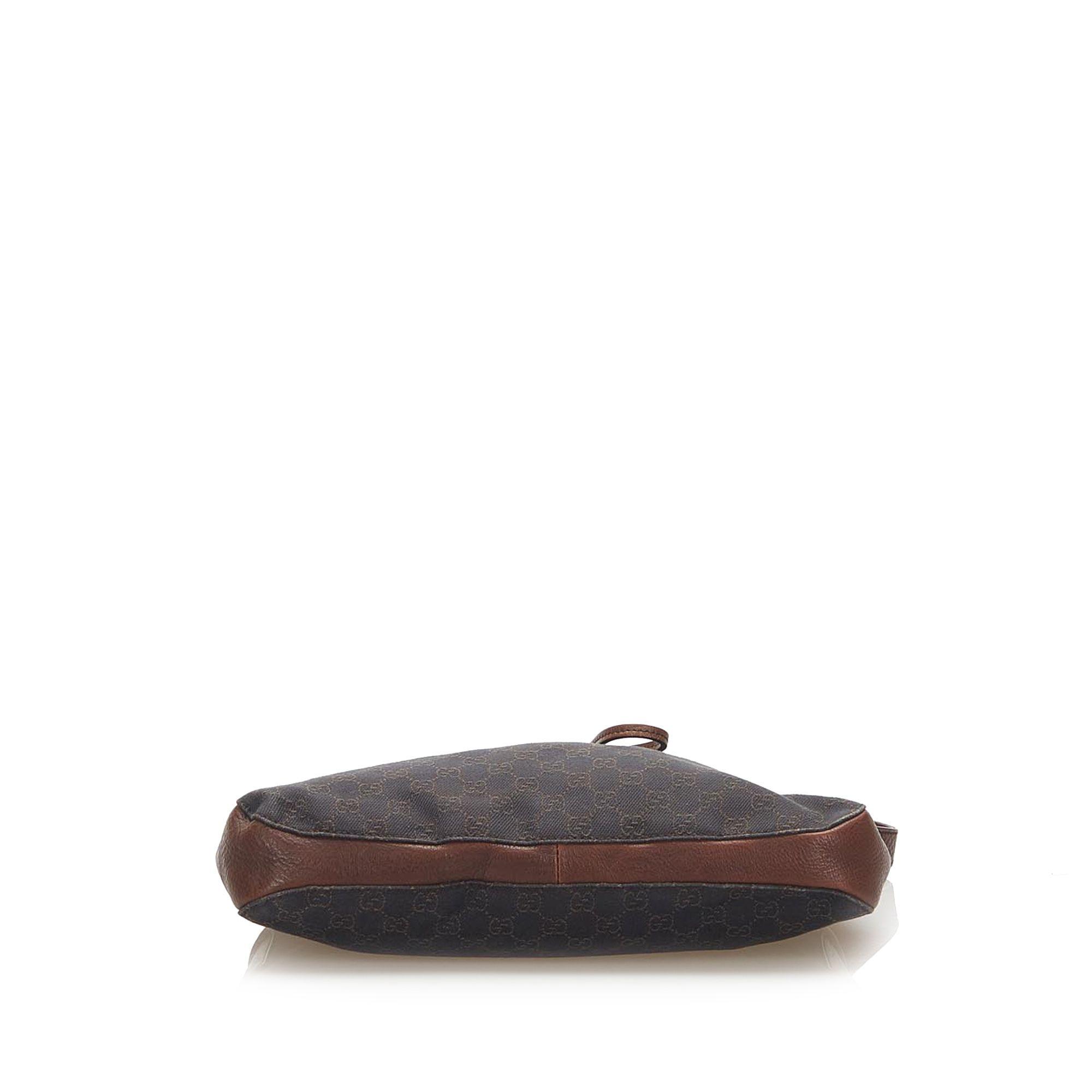 Vintage Gucci GG Canvas Horsebit Shoulder Bag Black