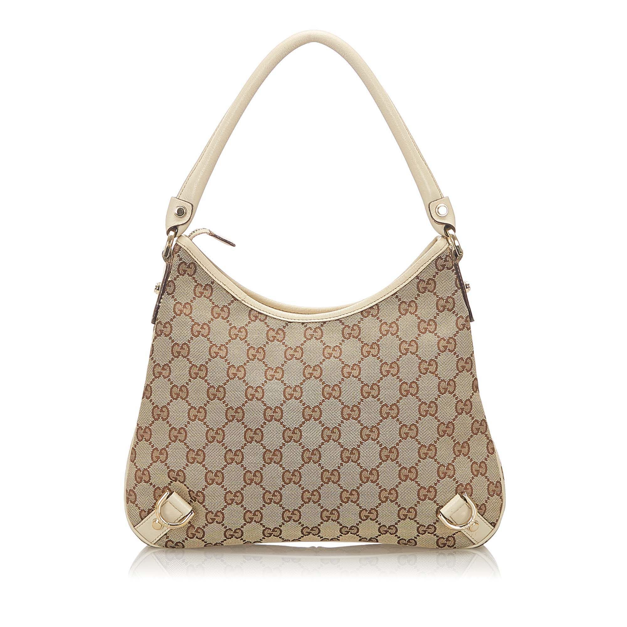Vintage Gucci Abbey GG Canvas Shoulder Bag Brown