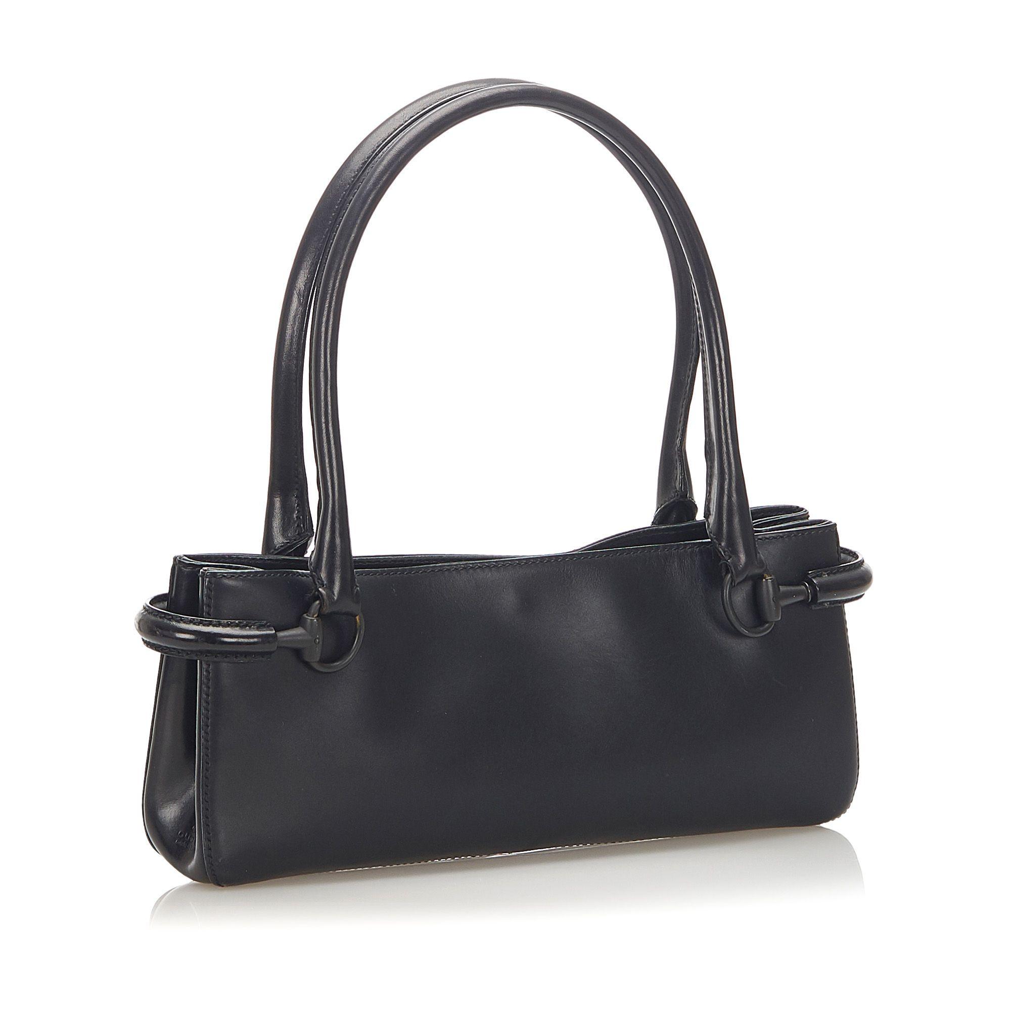 Vintage Gucci Horsebit Leather Handbag Black