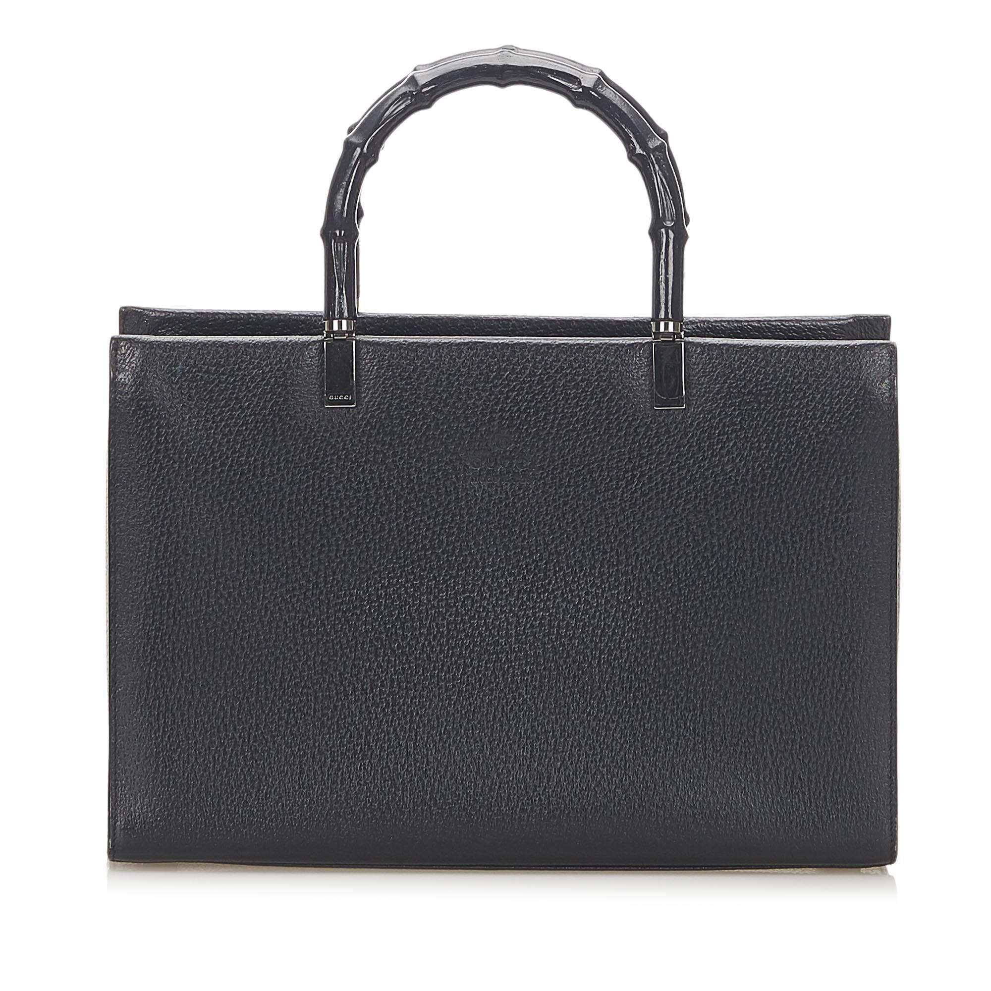 Vintage Gucci Bamboo Leather Satchel Black