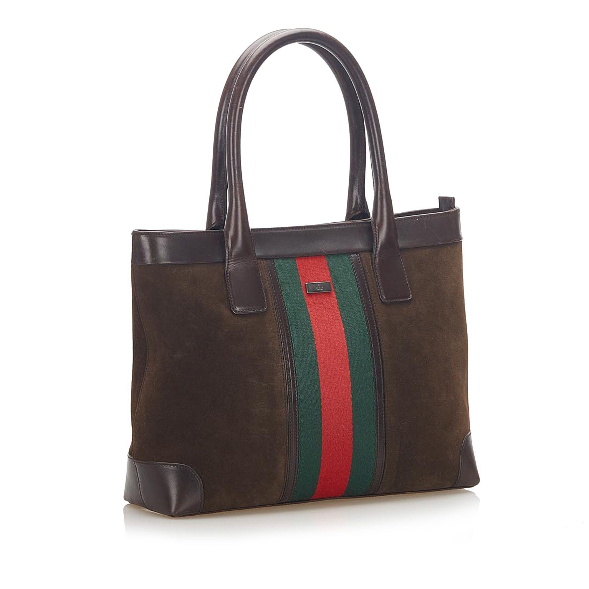 Vintage Gucci Web Suede Tote Bag Brown