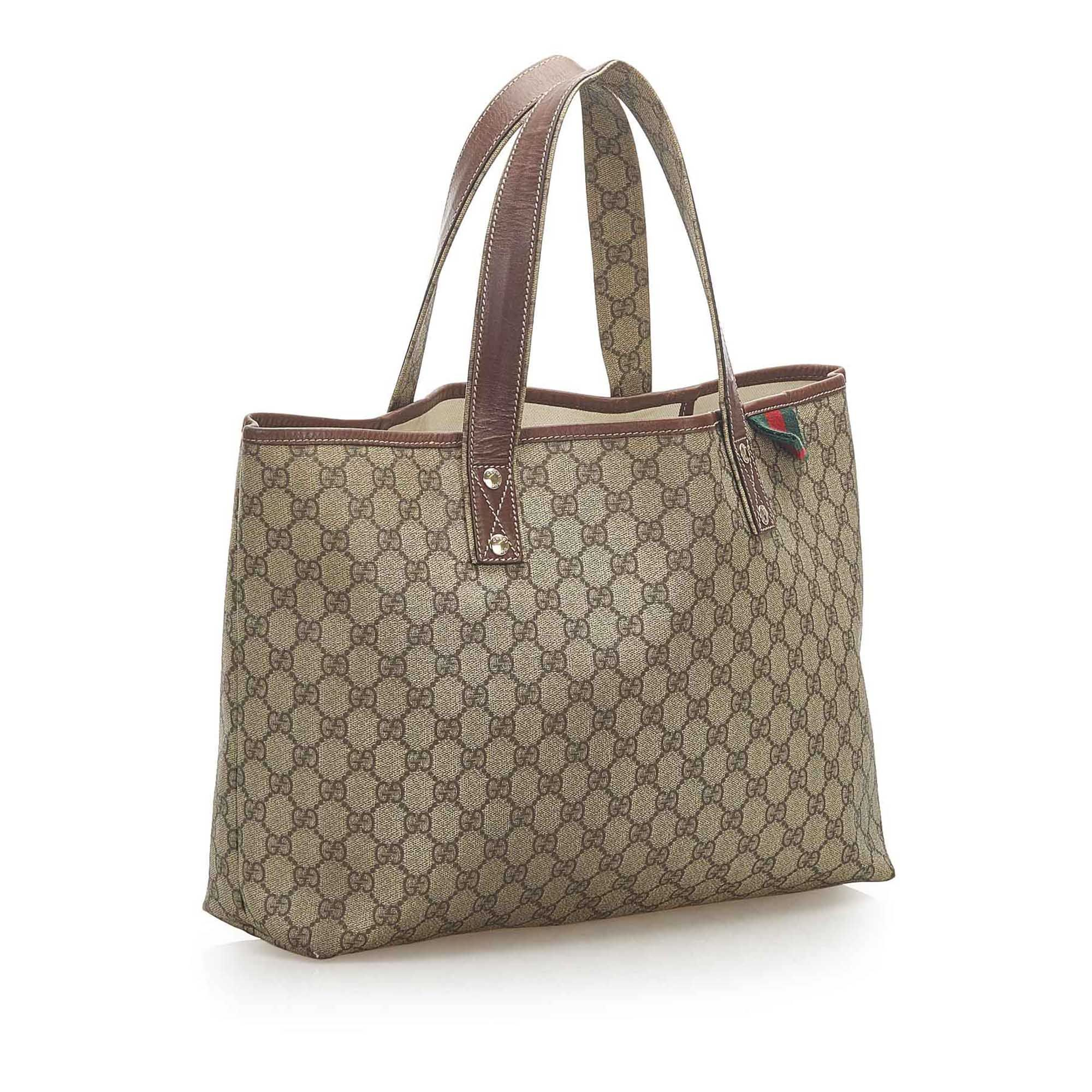 Vintage Gucci GG Supreme Web Tote Bag Brown