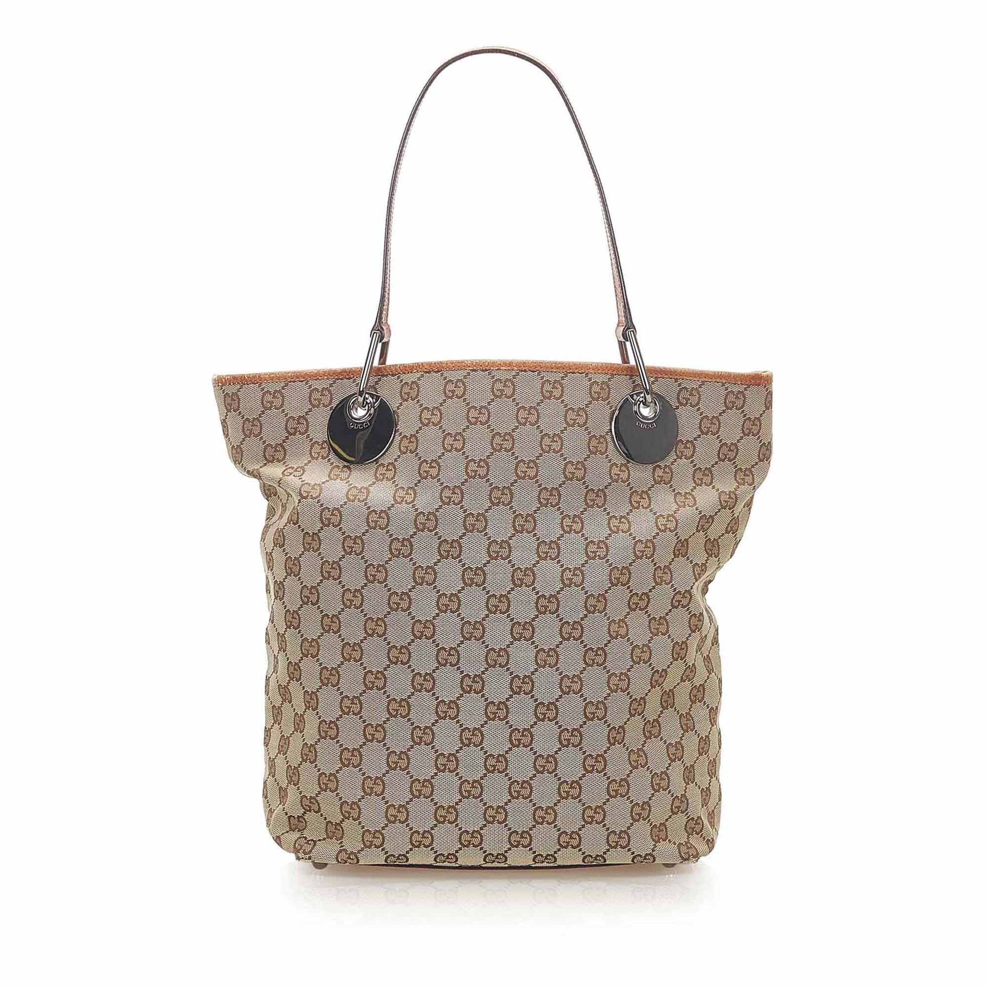 Vintage Gucci GG Canvas Eclipse Tote Bag Brown