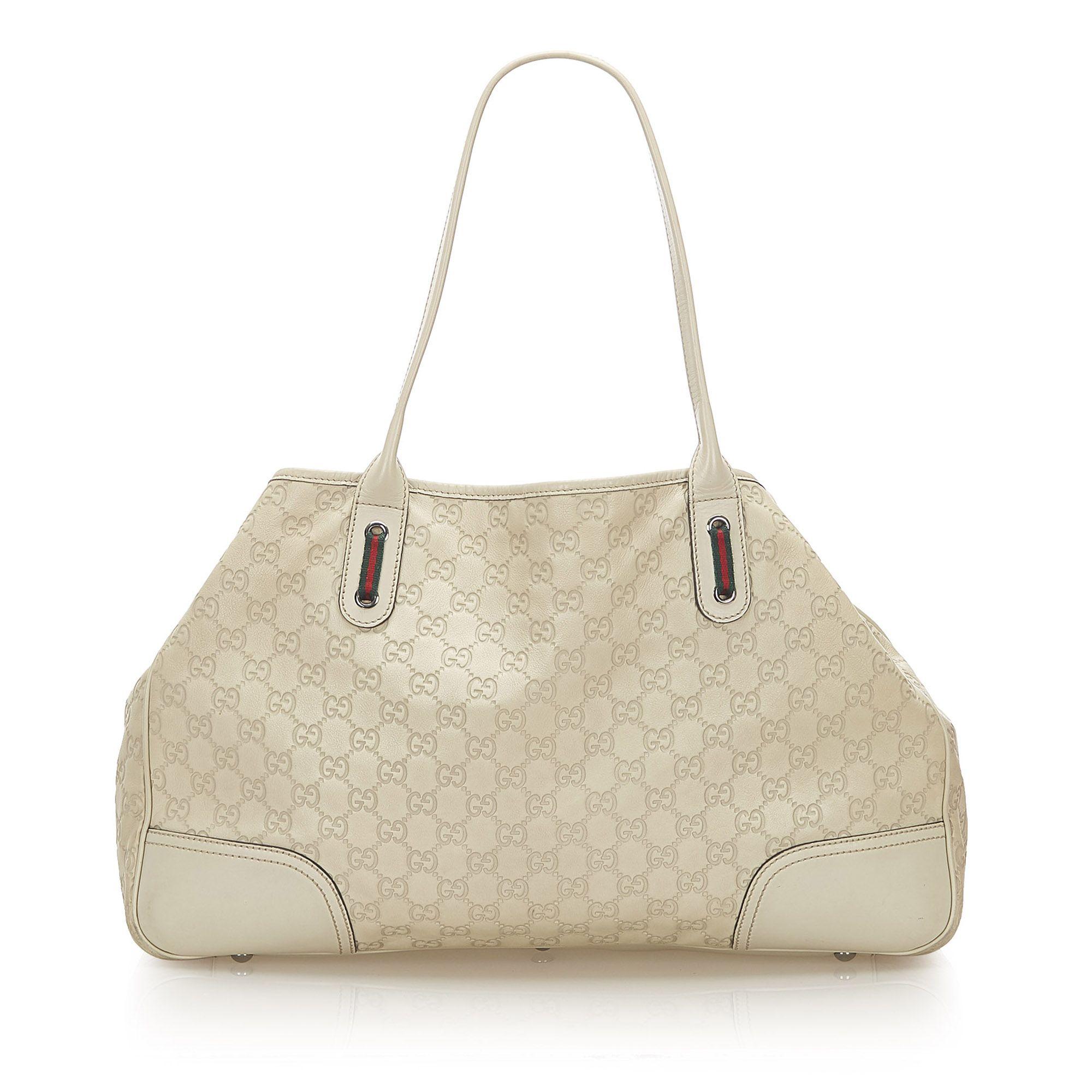 Vintage Gucci Guccissima Princy Tote Bag White