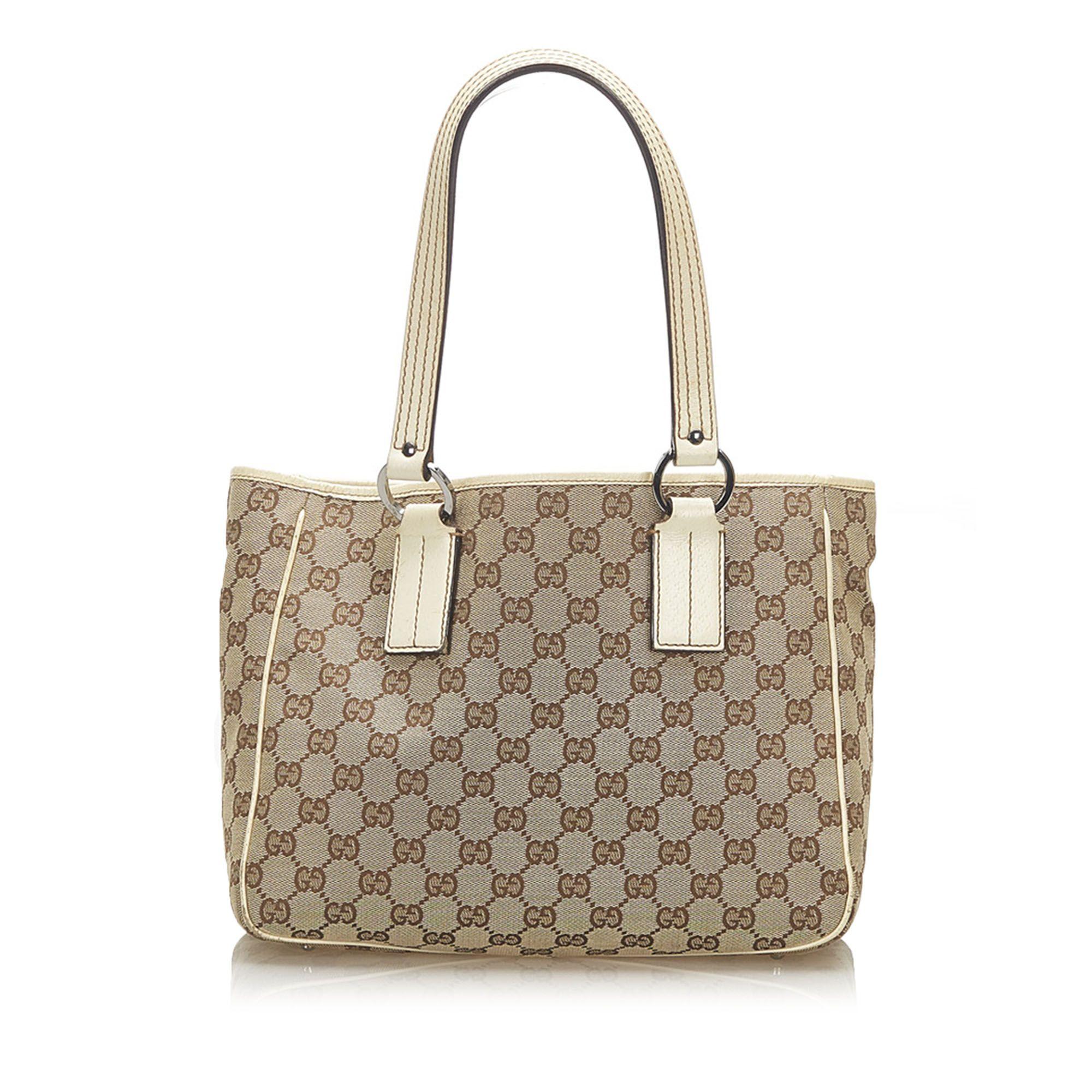 Vintage Gucci GG Canvas Tote Bag Brown