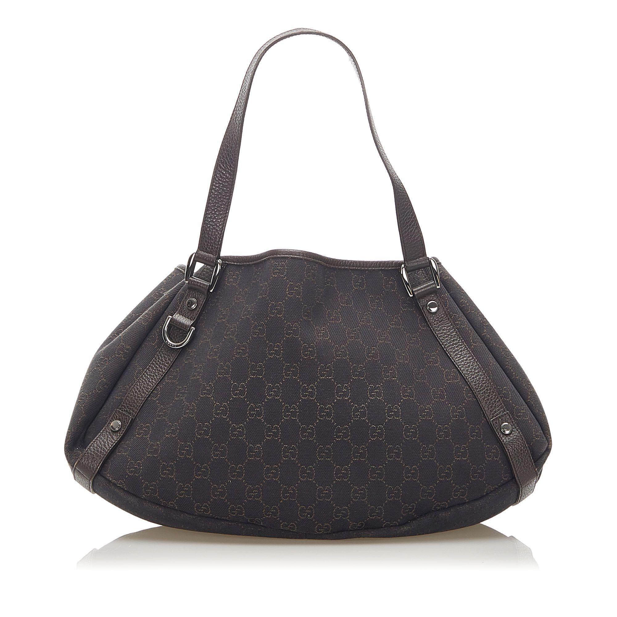 Vintage Gucci GG Canvas Pelham Shoulder Bag Black