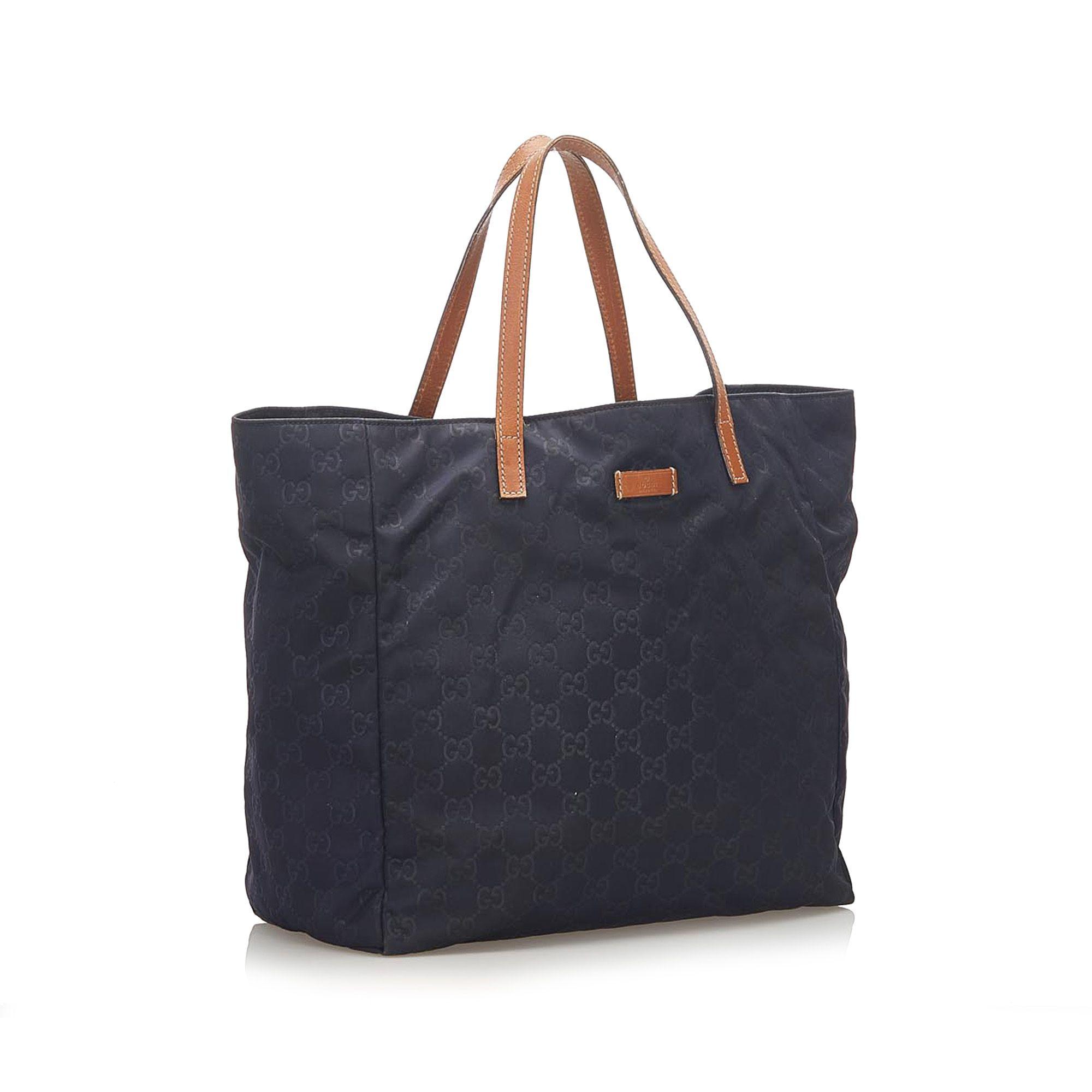 Vintage Gucci GG Nylon Tote Bag Blue