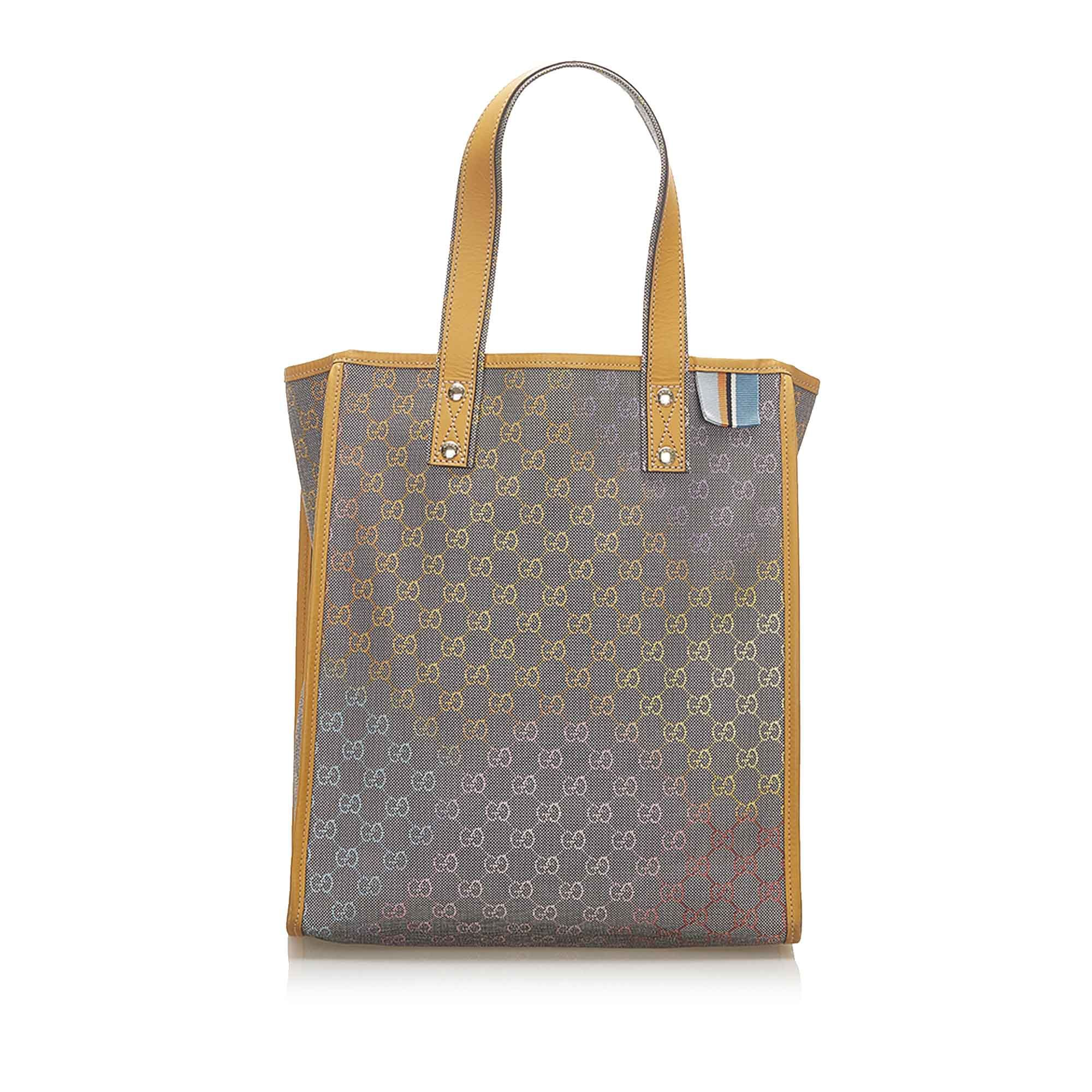Vintage Gucci GG Denim Web Loop Tote Bag Gray