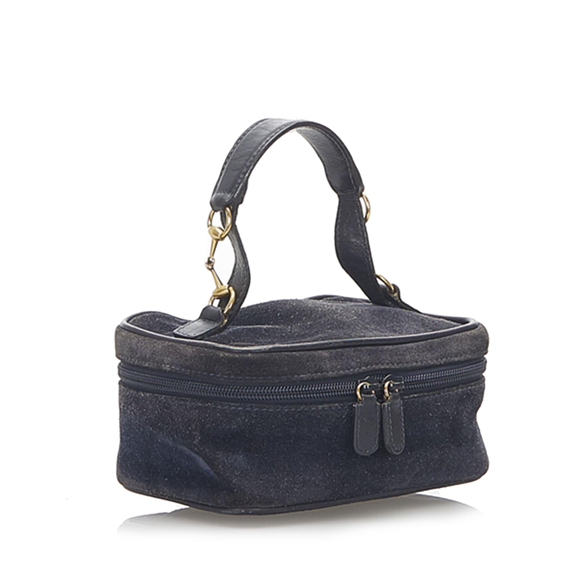 Vintage Gucci Horsebit Suede Vanity Bag Black