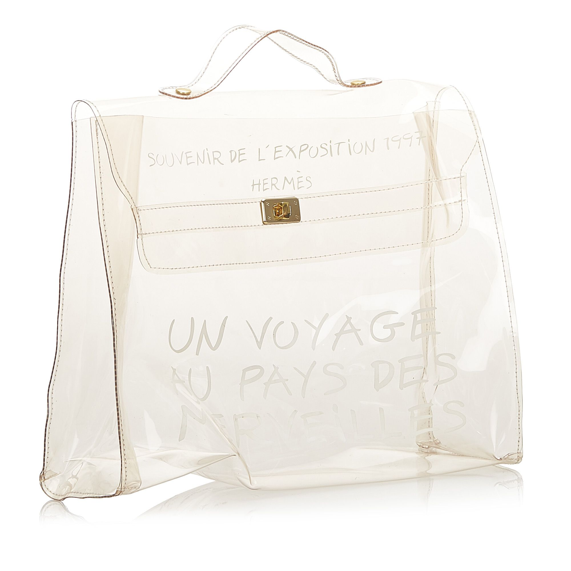 Vintage Hermes Kelly Vinyl Handbag White