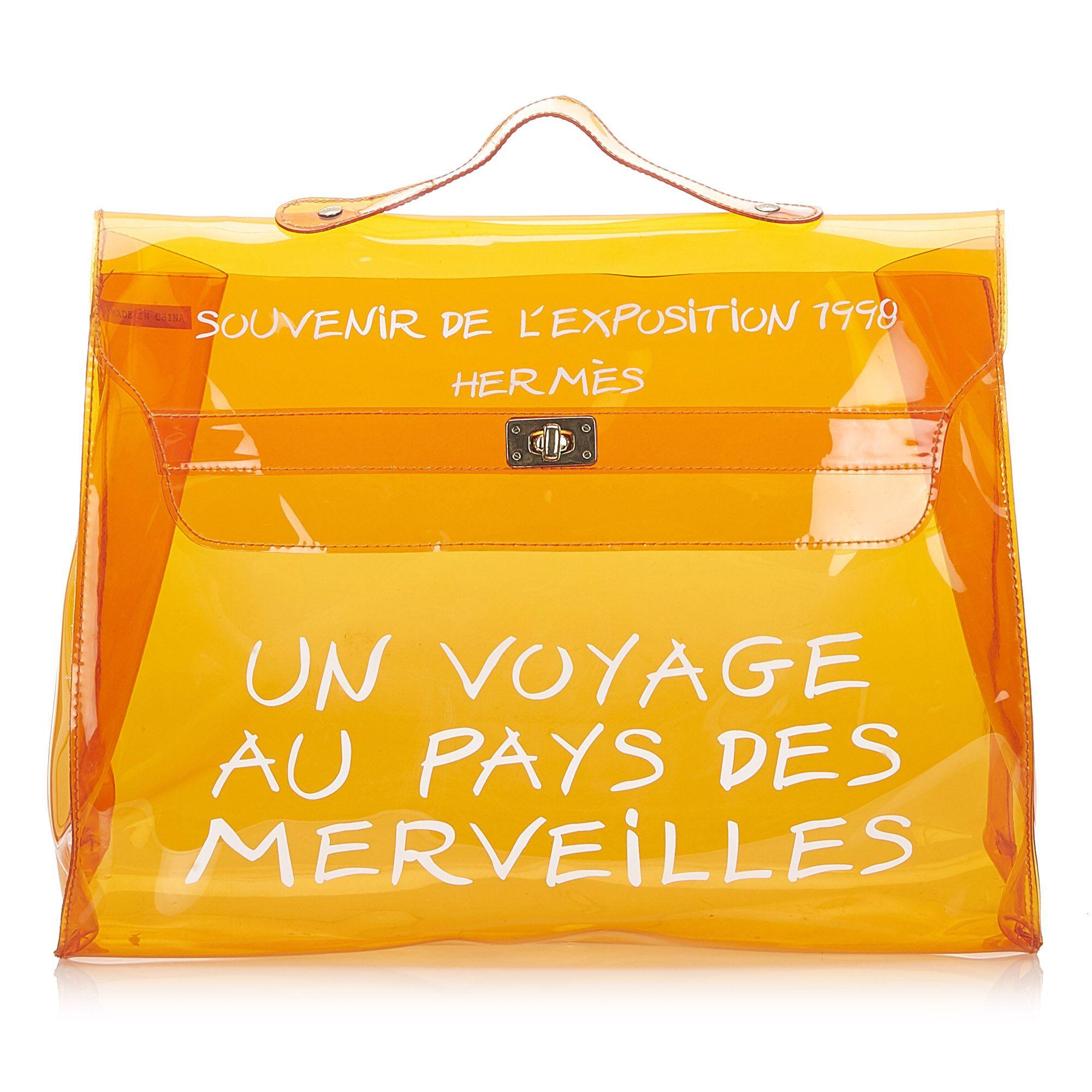 Vintage Hermes Kelly Vinyl Handbag Orange