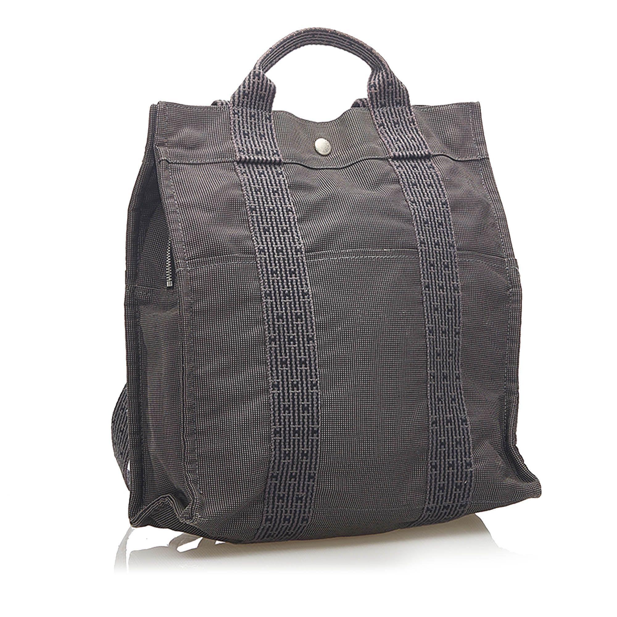 Vintage Hermes Herline Canvas Backpack Gray