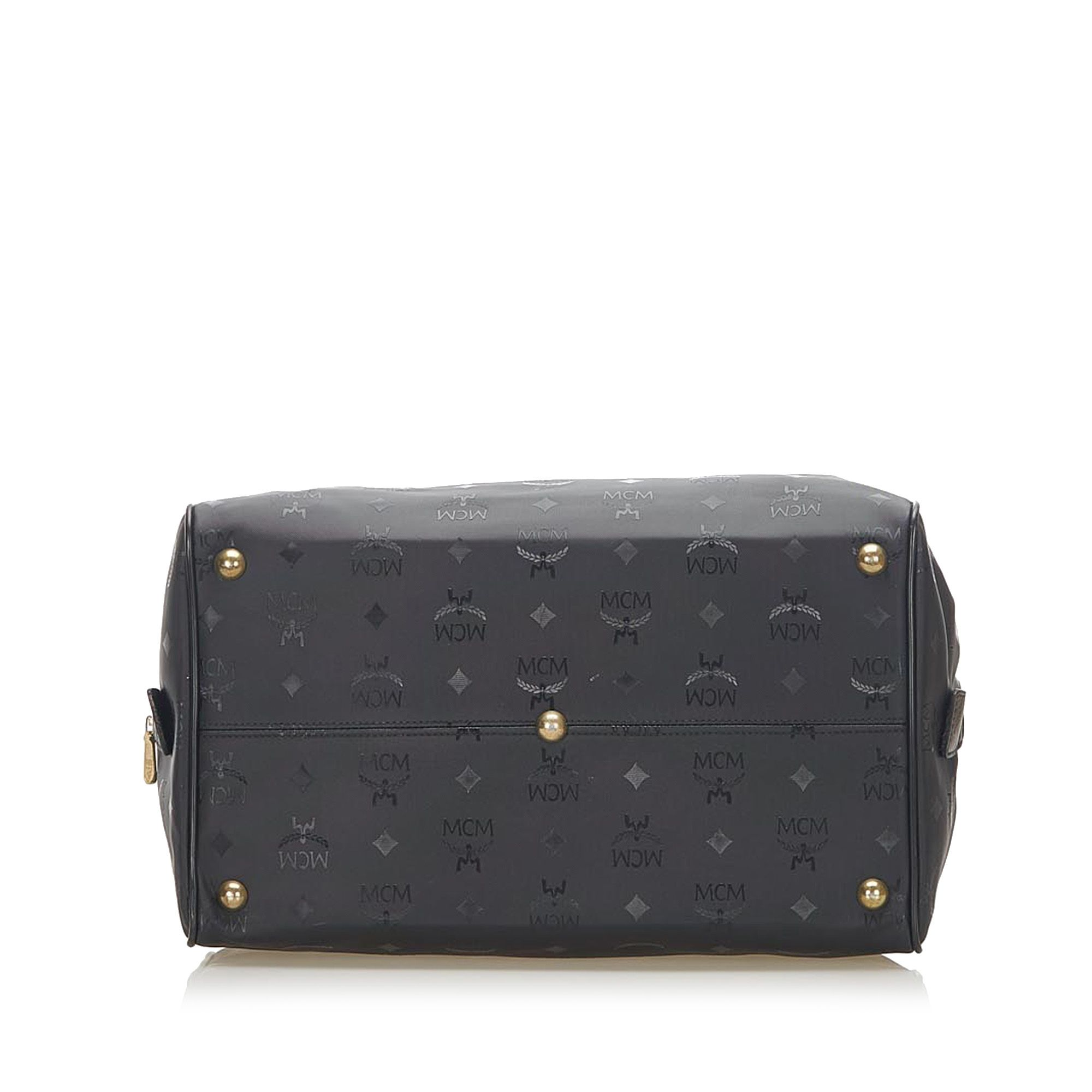 Vintage MCM Visetos Nylon Boston Bag Black