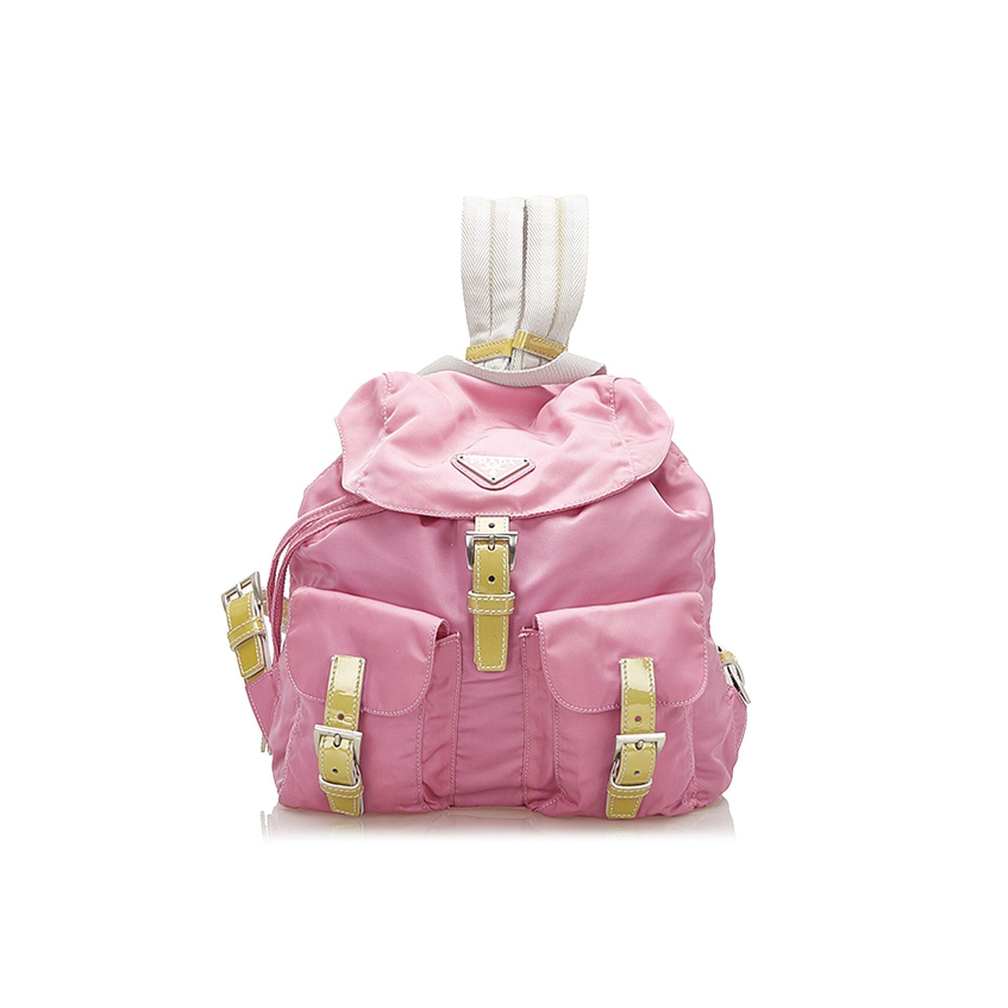 Vintage Prada Tessuto Drawstring Backpack Pink