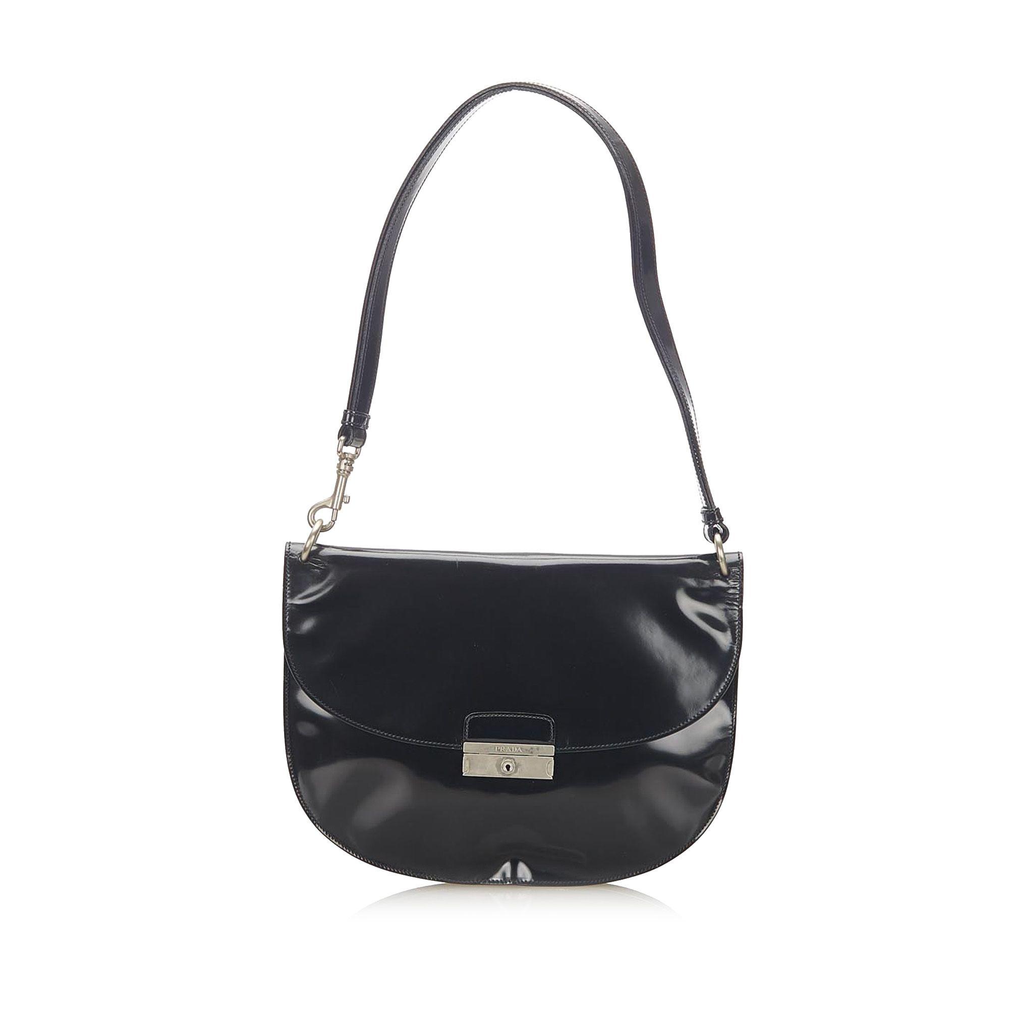 Vintage Prada Patent Leather Shoulder Bag Black